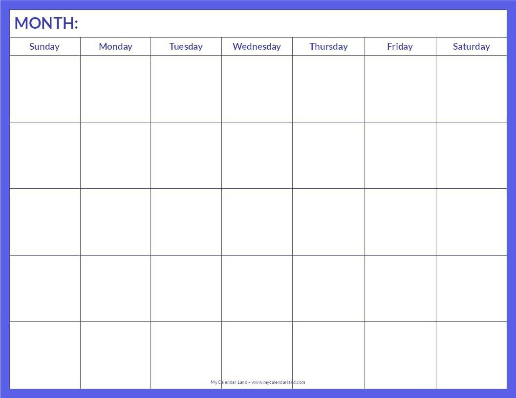 018 Blank Calendar Template Pdf Ideas Free Monthly Printable Word