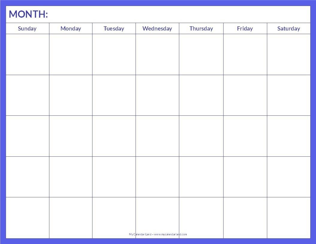018 Blank Calendar Template Pdf Ideas Free Monthly Printable Word