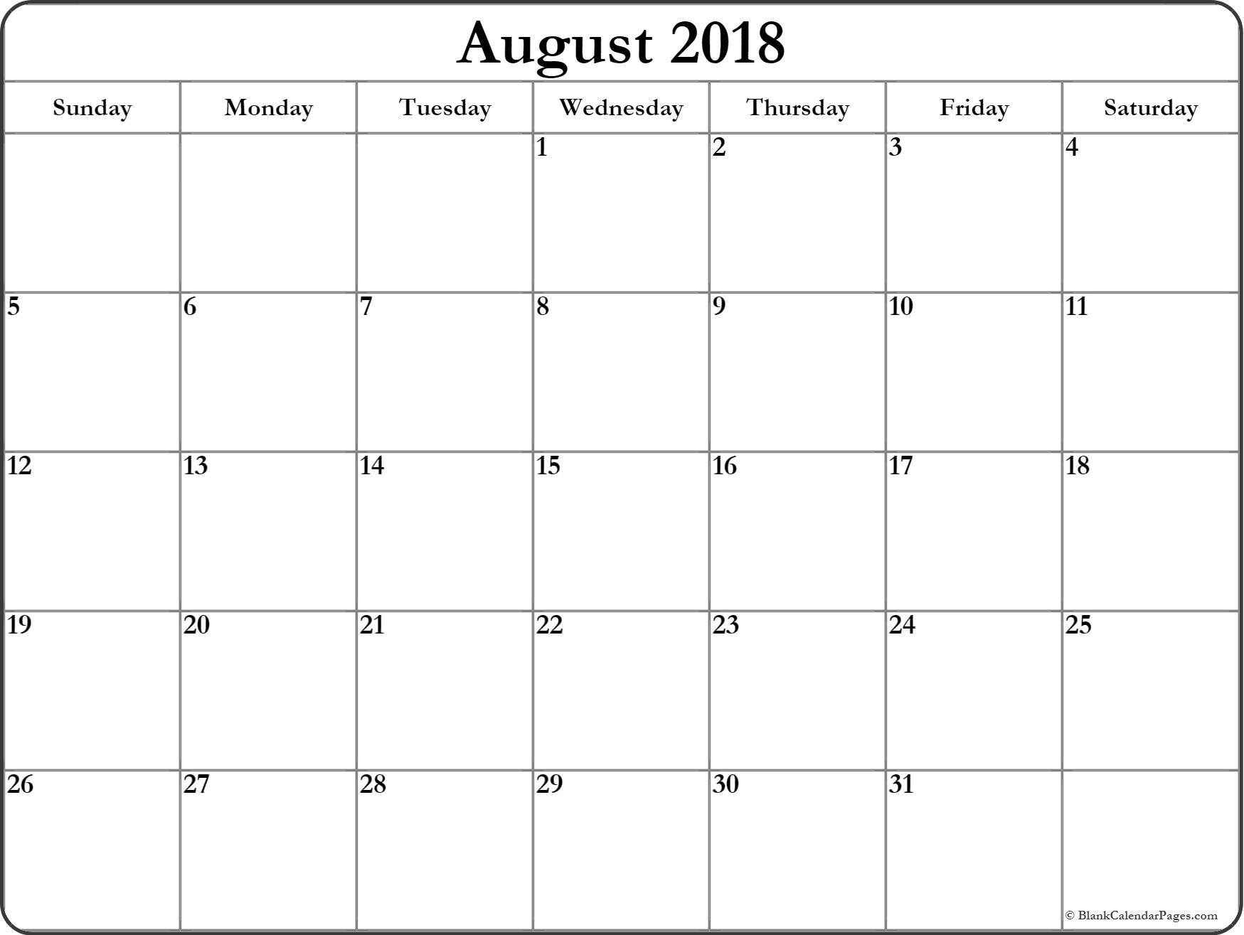 042 August Printable Calendar Phenomenal 2018 Word September