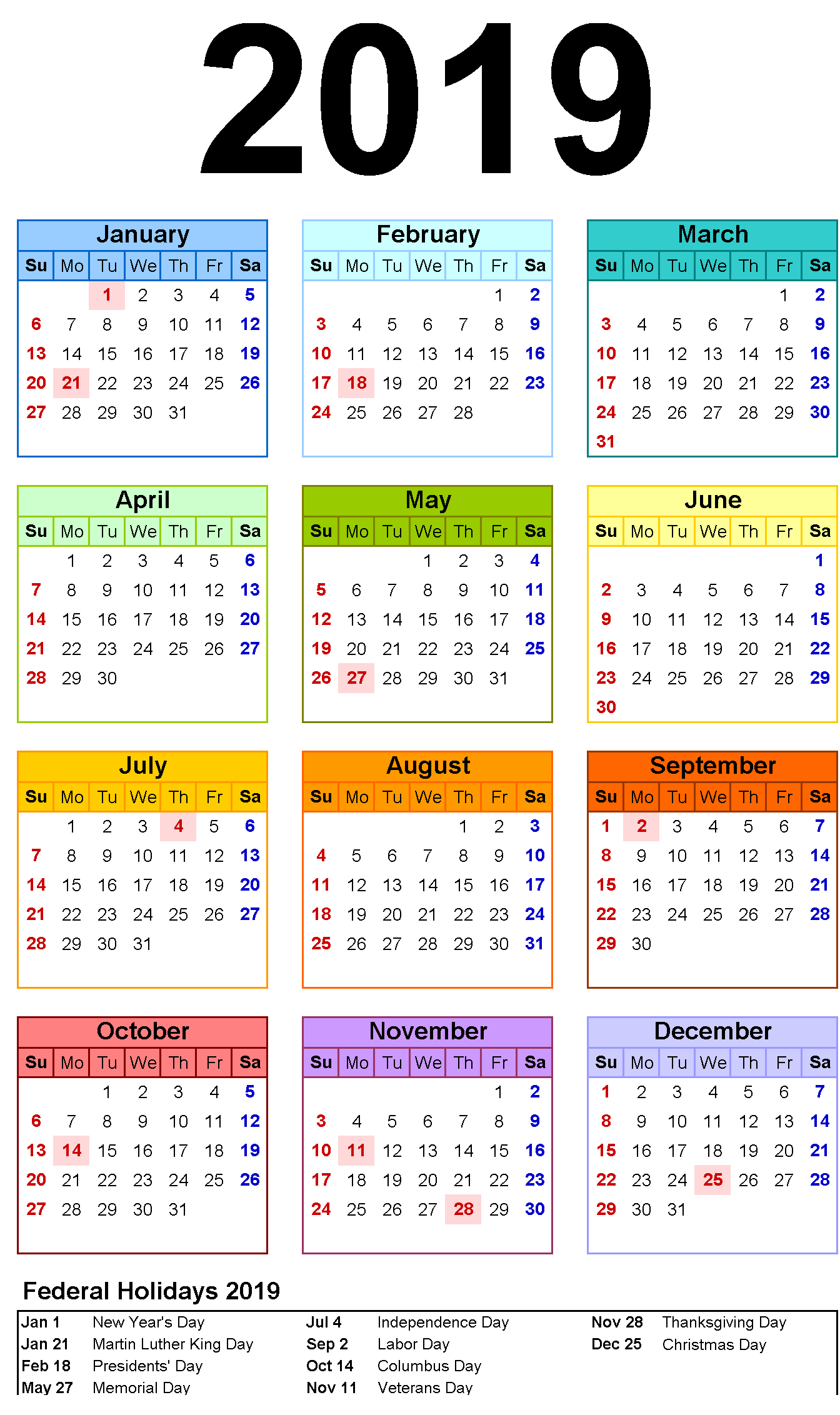 12 Month Calendar In One Page #2019Calendar #holidayscalendar