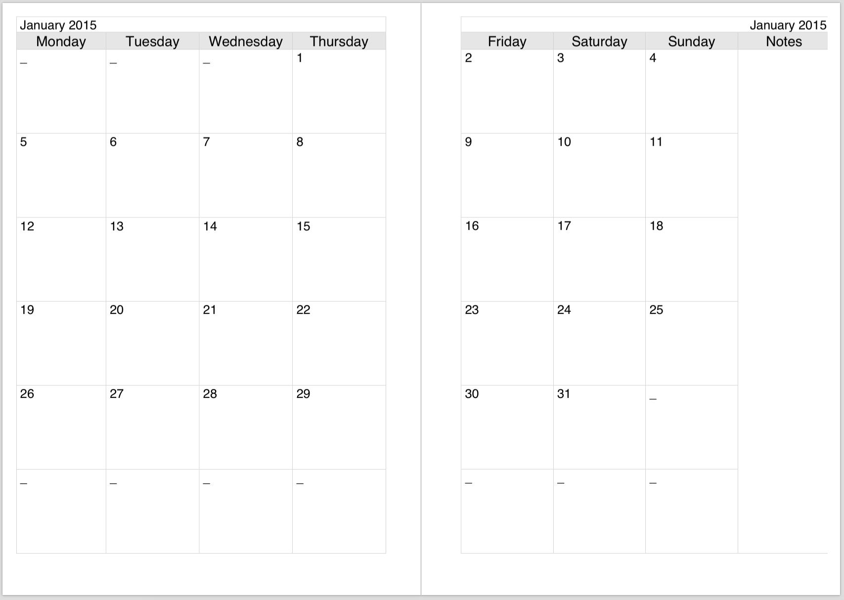2 Page Blank Calendar