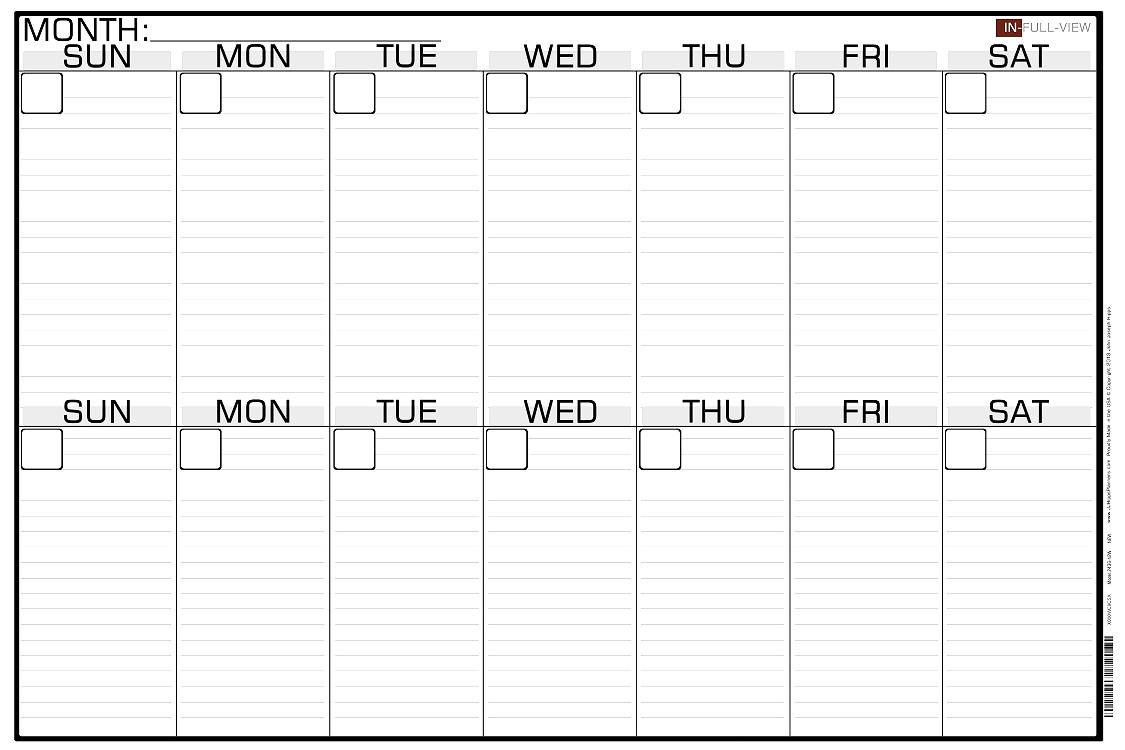 2 Week Calendar Blank