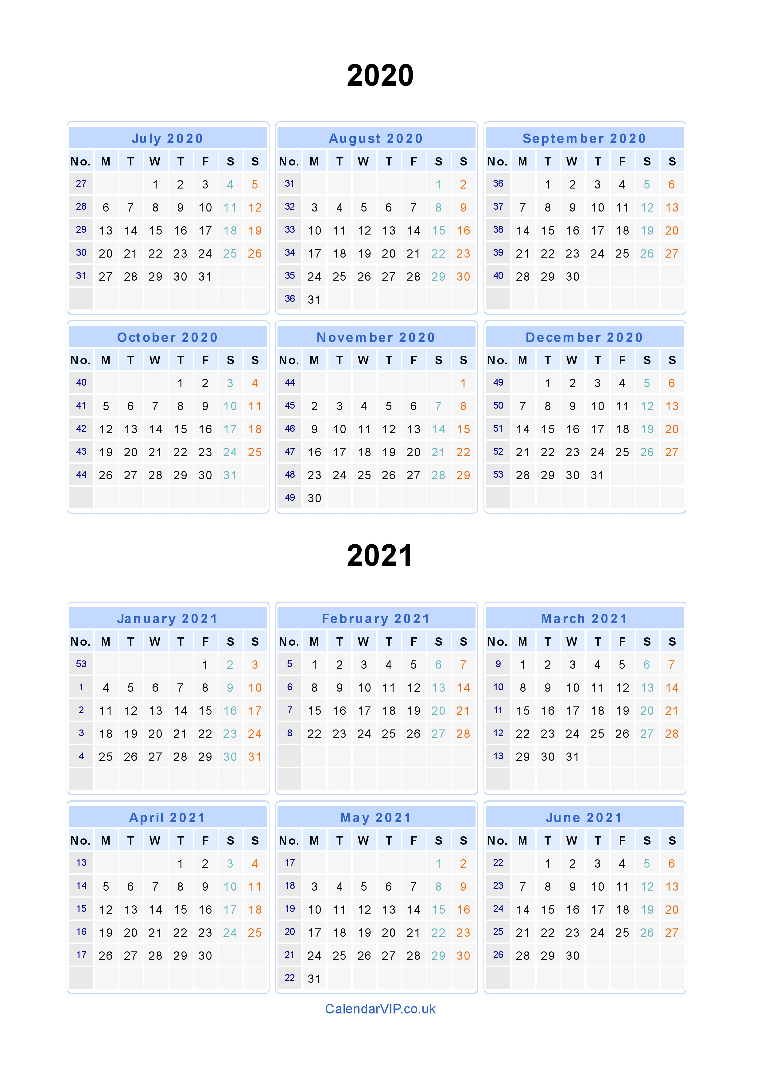2 Year Calendar 2020 And 2021