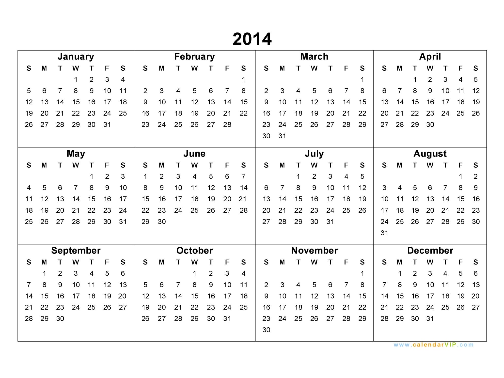 2014 Calendar - Blank Printable Calendar Template In Pdf Word Excel