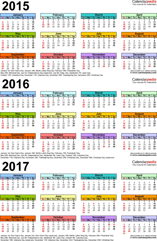 2015/2016/2017 Calendar - 4 Three-Year Printable Excel Calendars