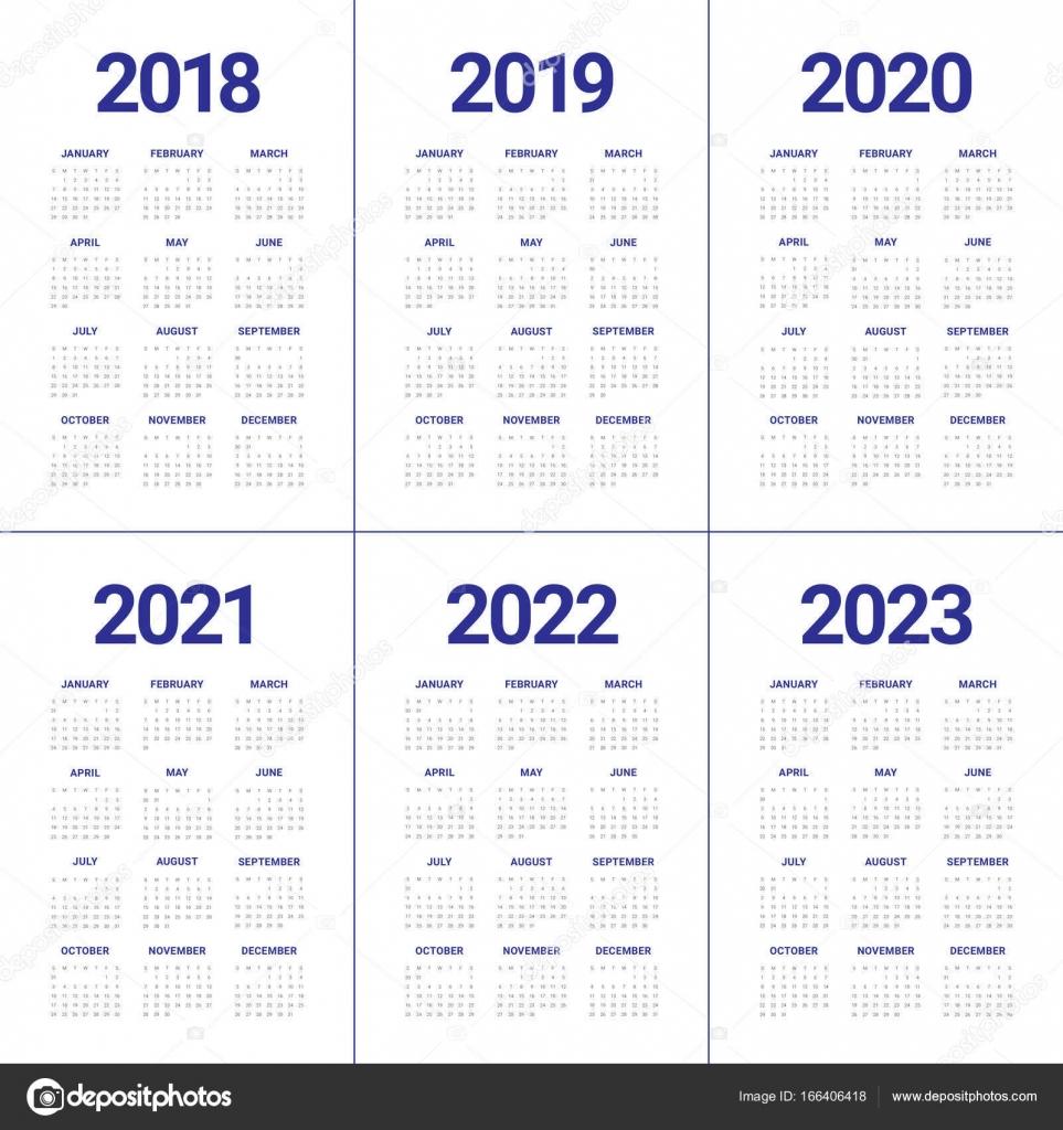2018 2019 2020 2021 2022 2023 Года Календарь Вектор — Векторное