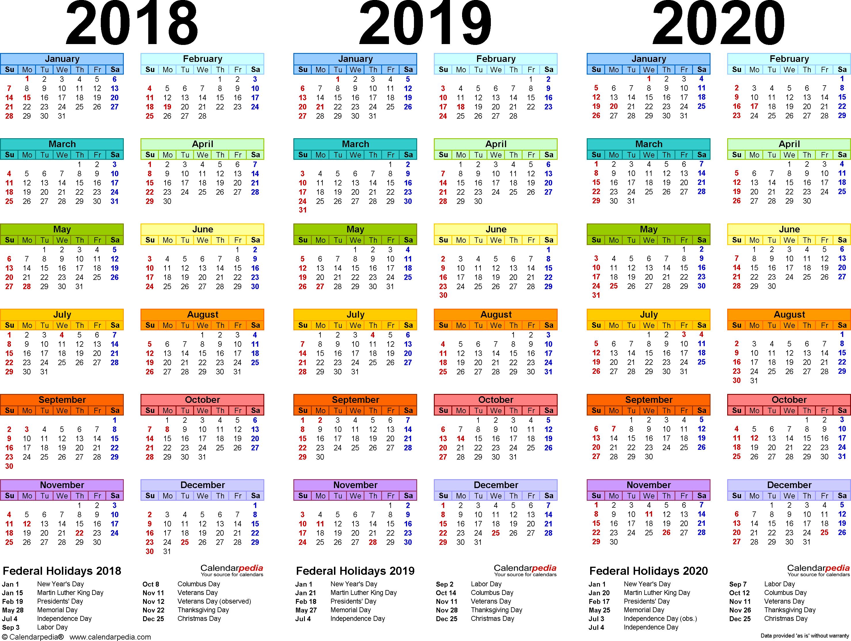 2018/2019/2020 Calendar - 4 Three-Year Printable Excel Calendars