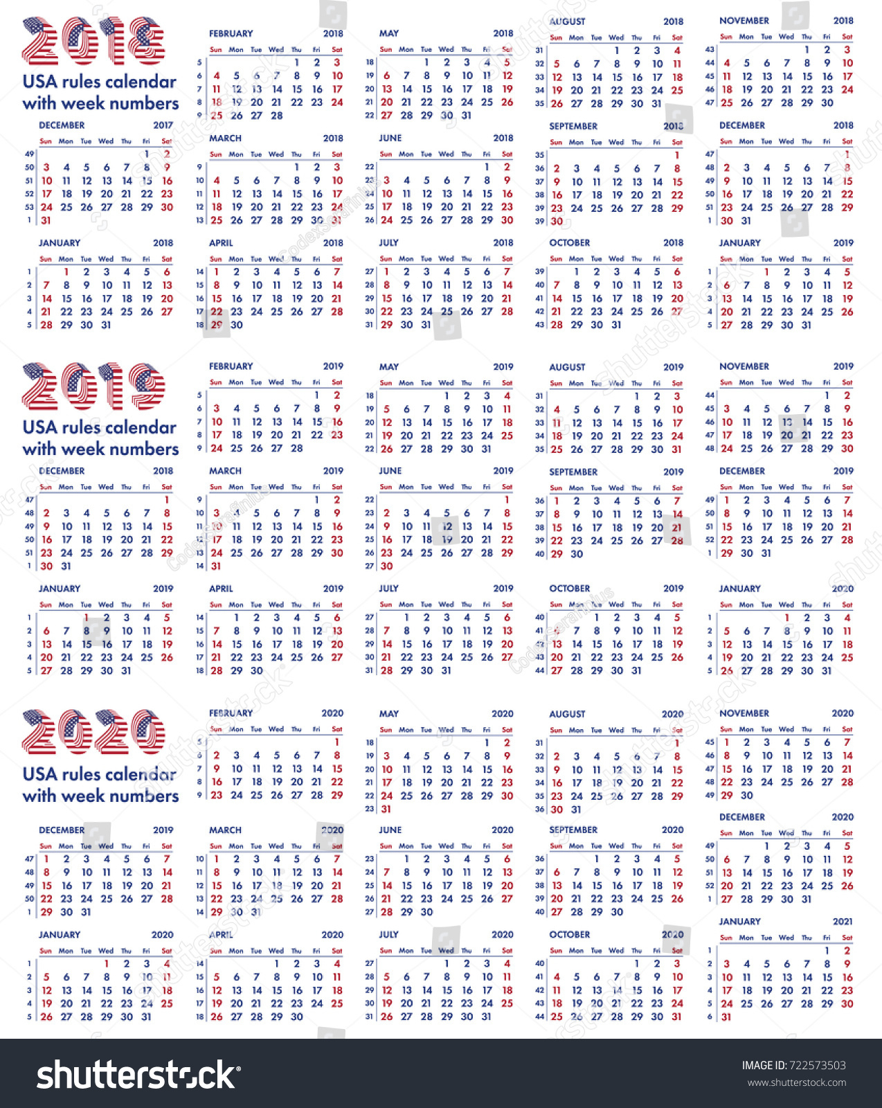 2018 2019 2020 Calendar Grid American Stock Vector (Royalty Free