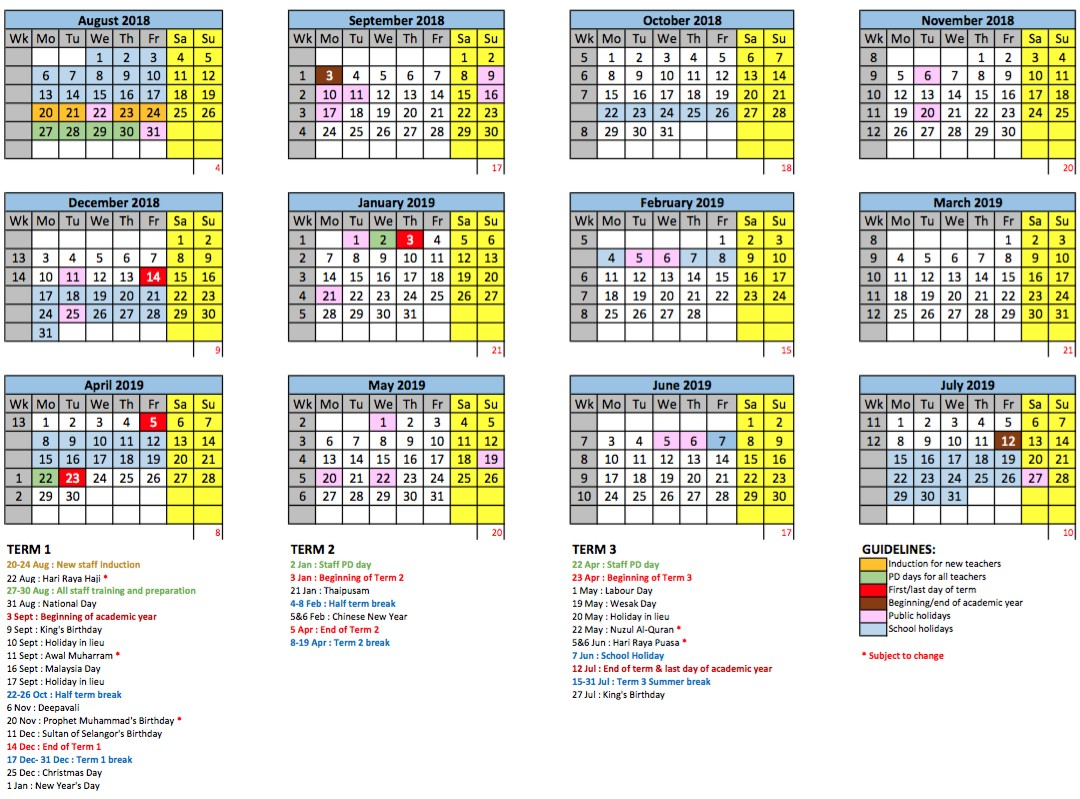 2018/2019 School Calendar - Gems International School Metropark