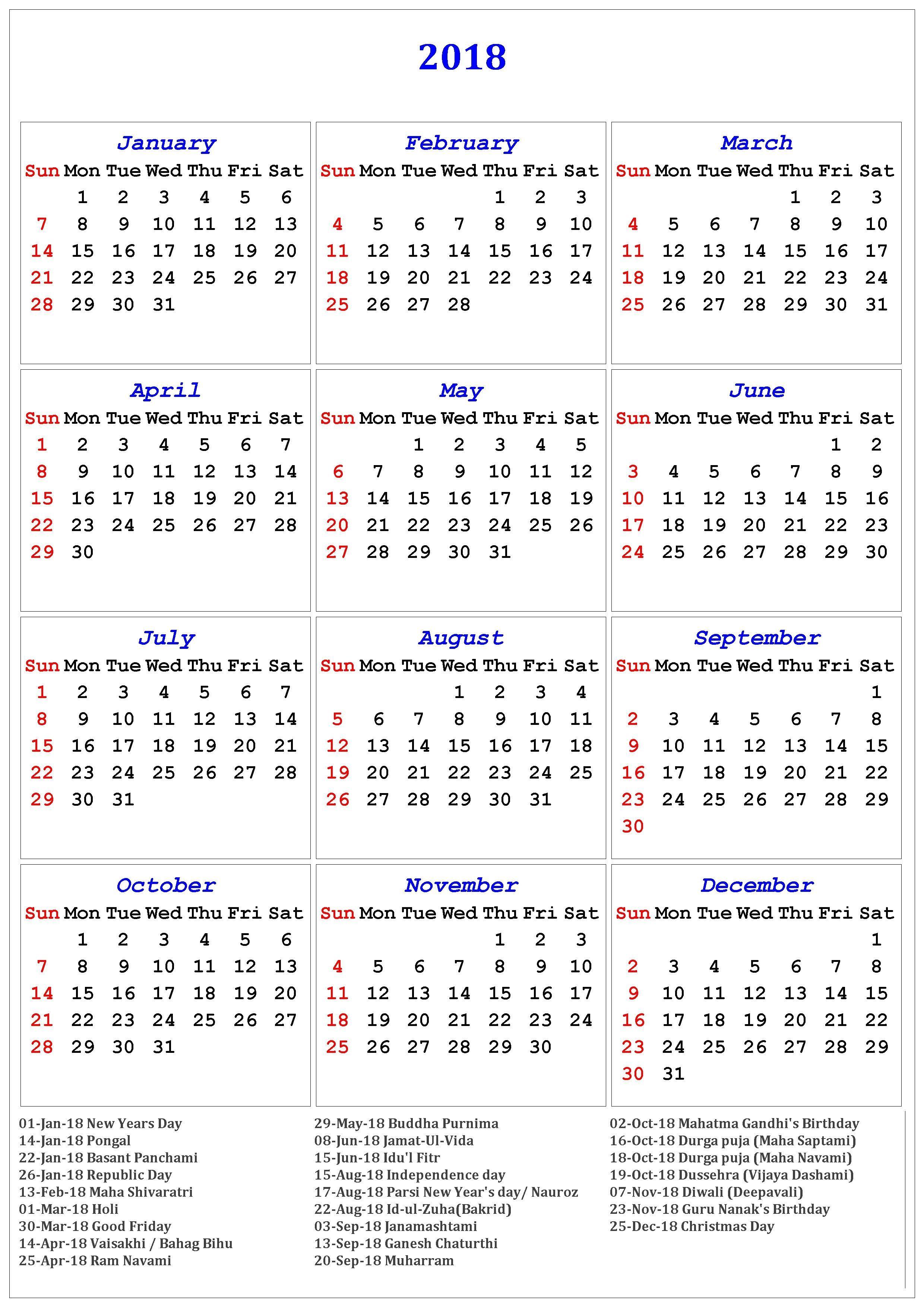 2018 Calendar Of Holidays