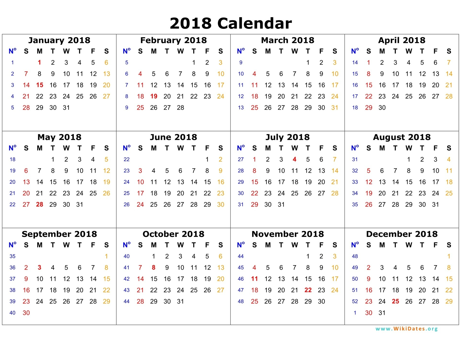 2018 Calendar Template 03 On 12 Month Calendar 2018 Template - Free
