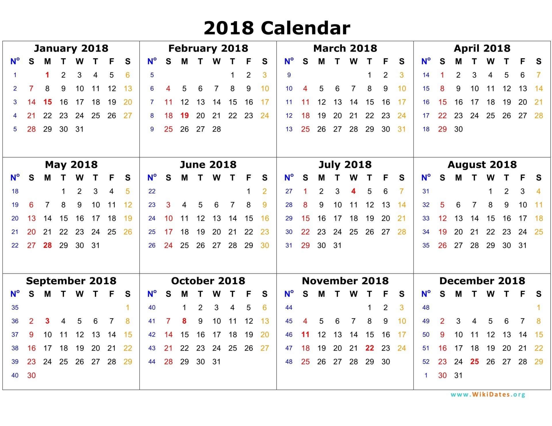 2018 Calendar Template 03 On 12 Month Calendar 2018 Template - Free