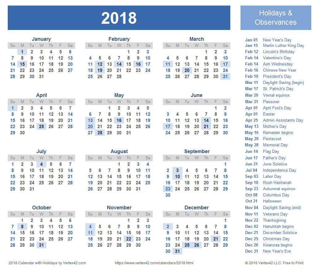 2018 Calendar Templates, Images And Pdfs