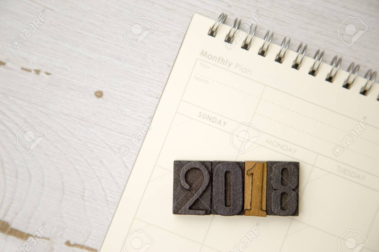 2018 With A Blank Calendar Stock Photo, Picture And Royalty Free