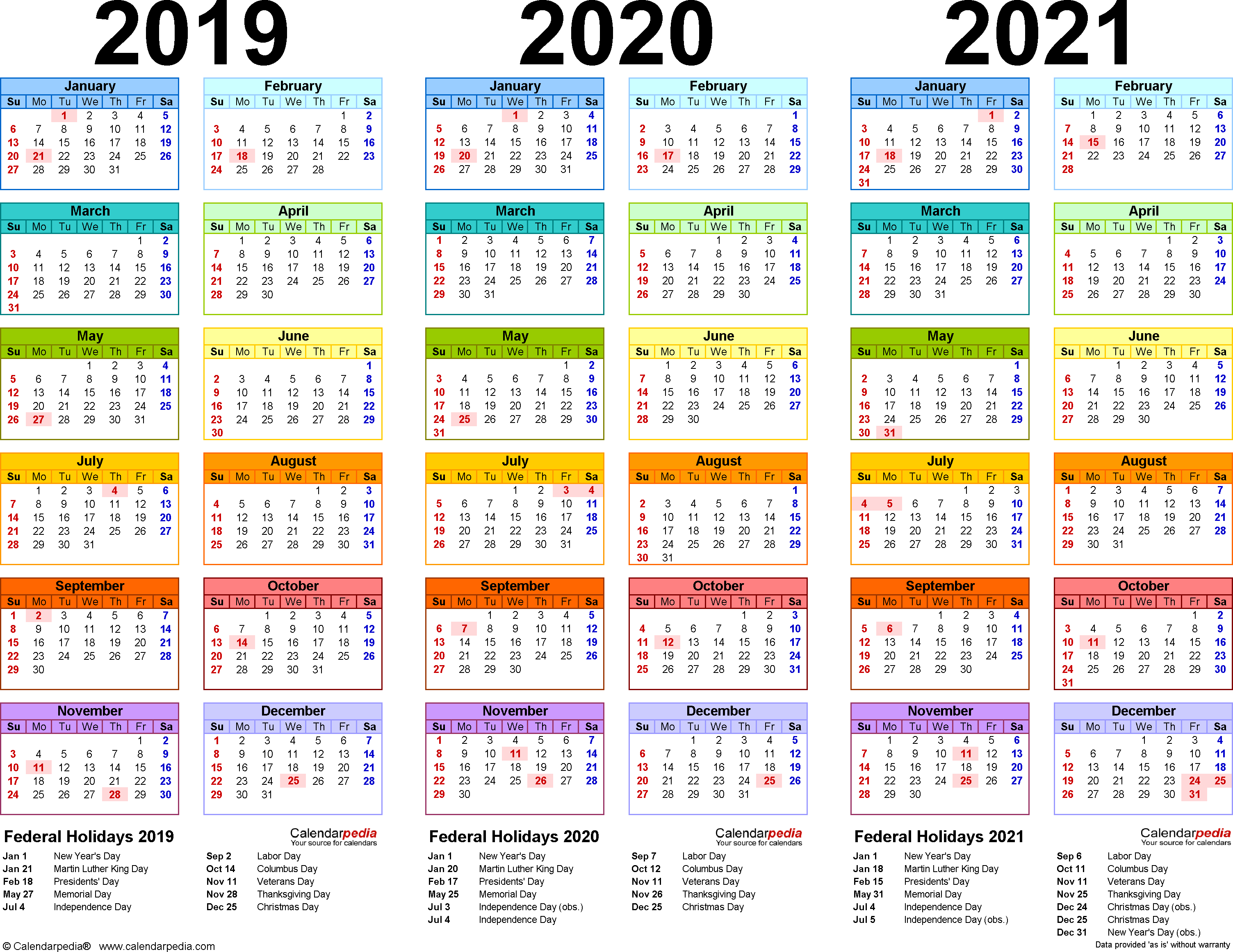 2019/2020/2021 Calendar - 4 Three-Year Printable Pdf Calendars