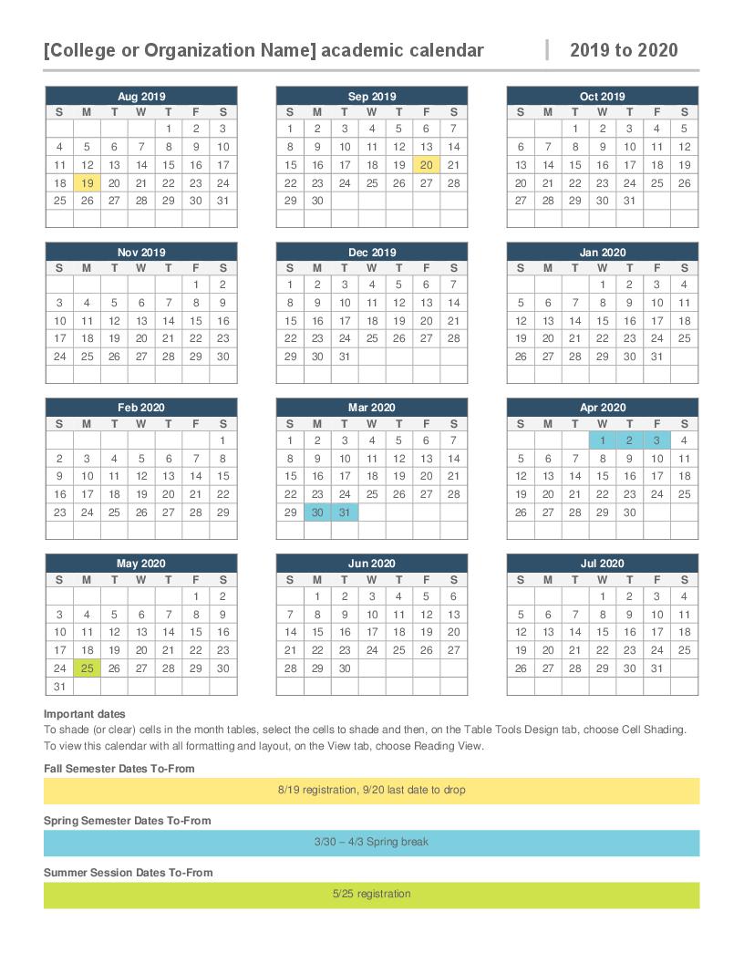 2019-2020 Academic Calendar