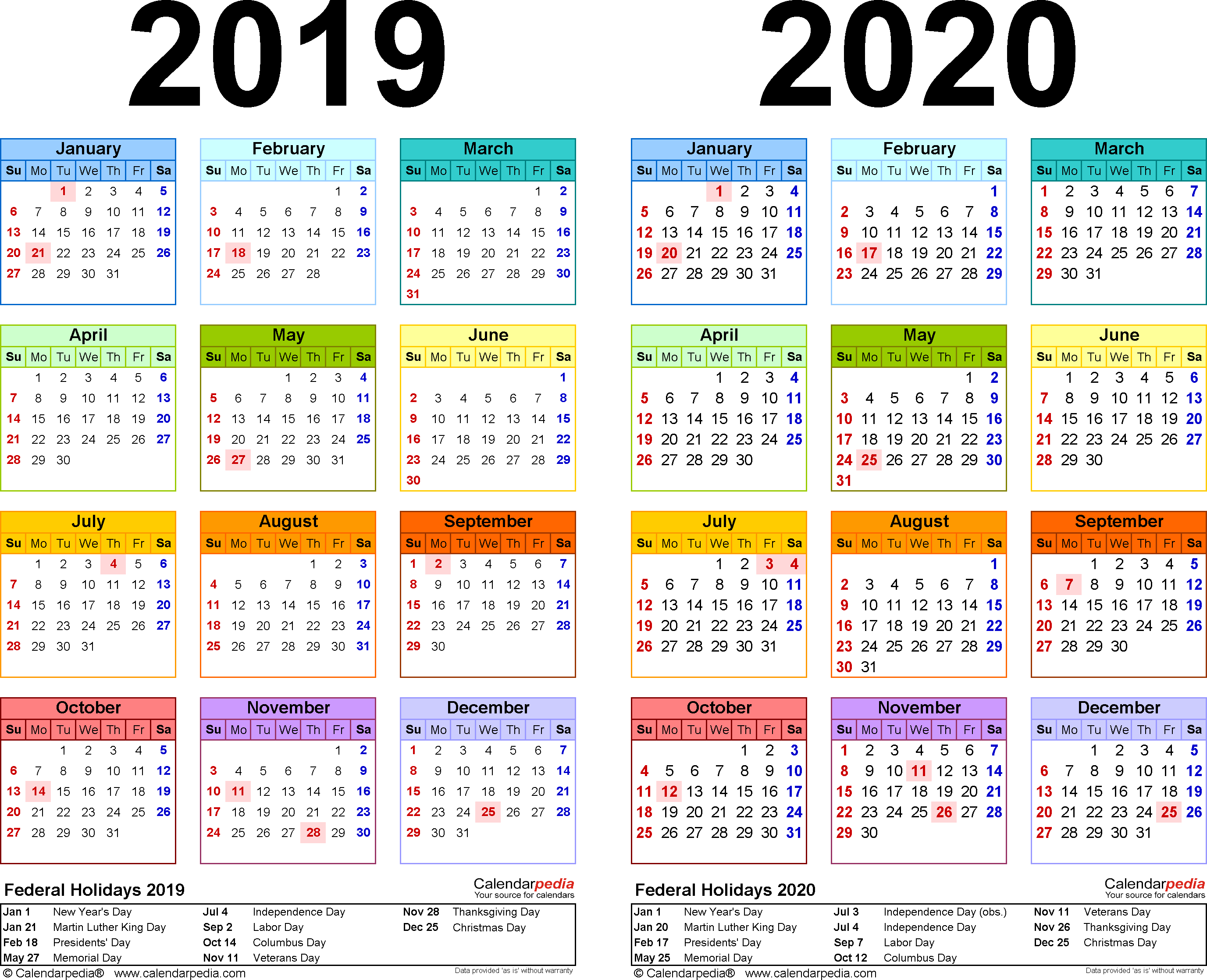 2019-2020 Calendar - Free Printable Two-Year Word Calendars