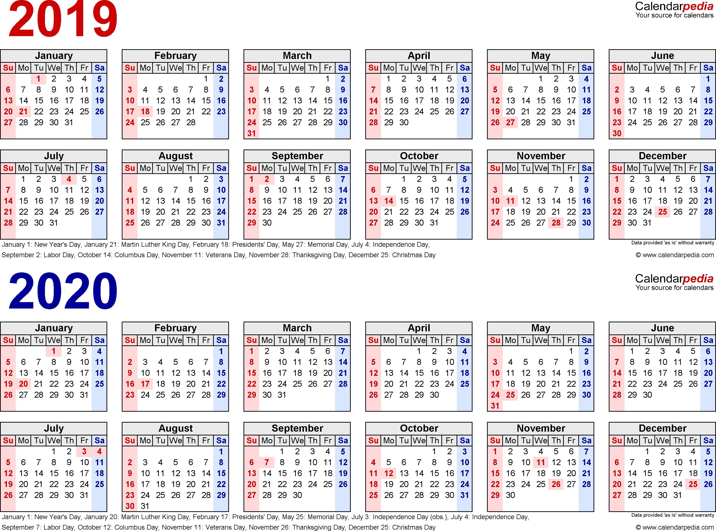 2019-2020 Calendar - Free Printable Two-Year Word Calendars