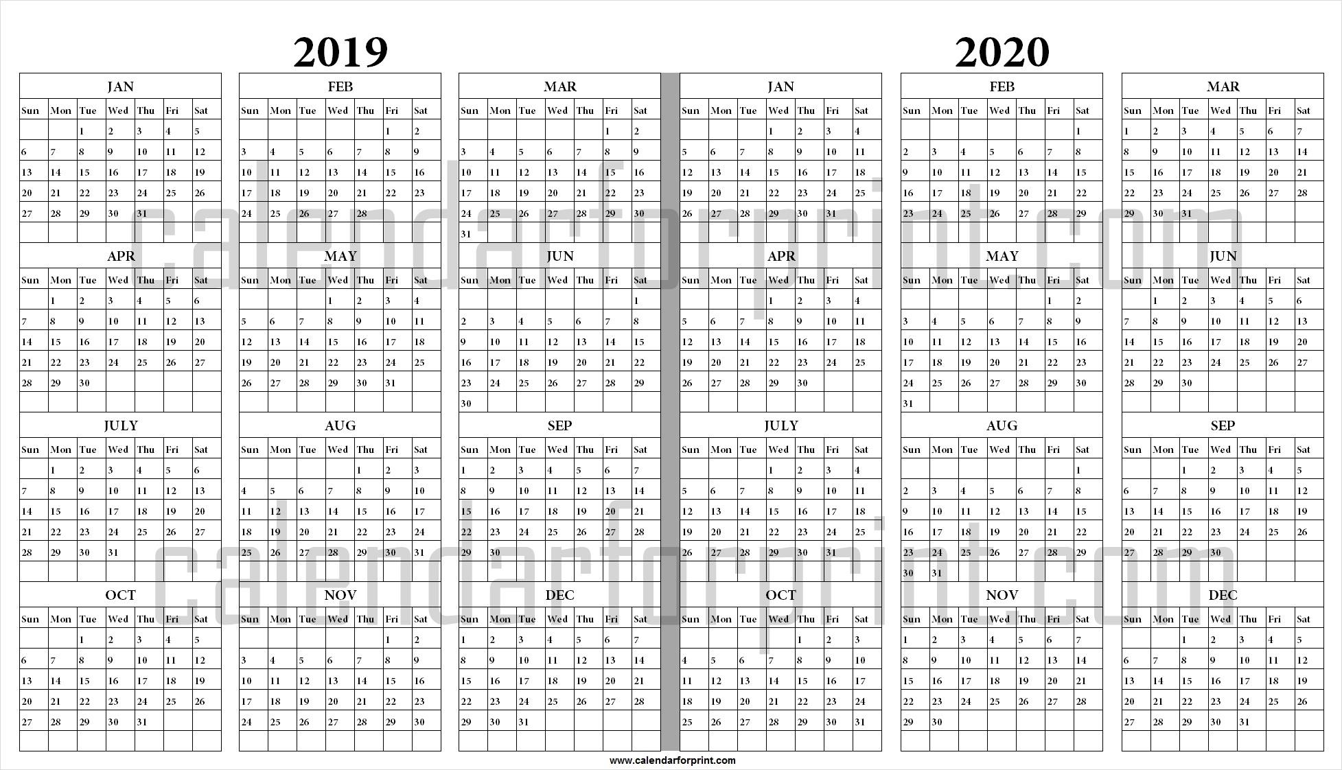 2019 2020 Calendar Printable