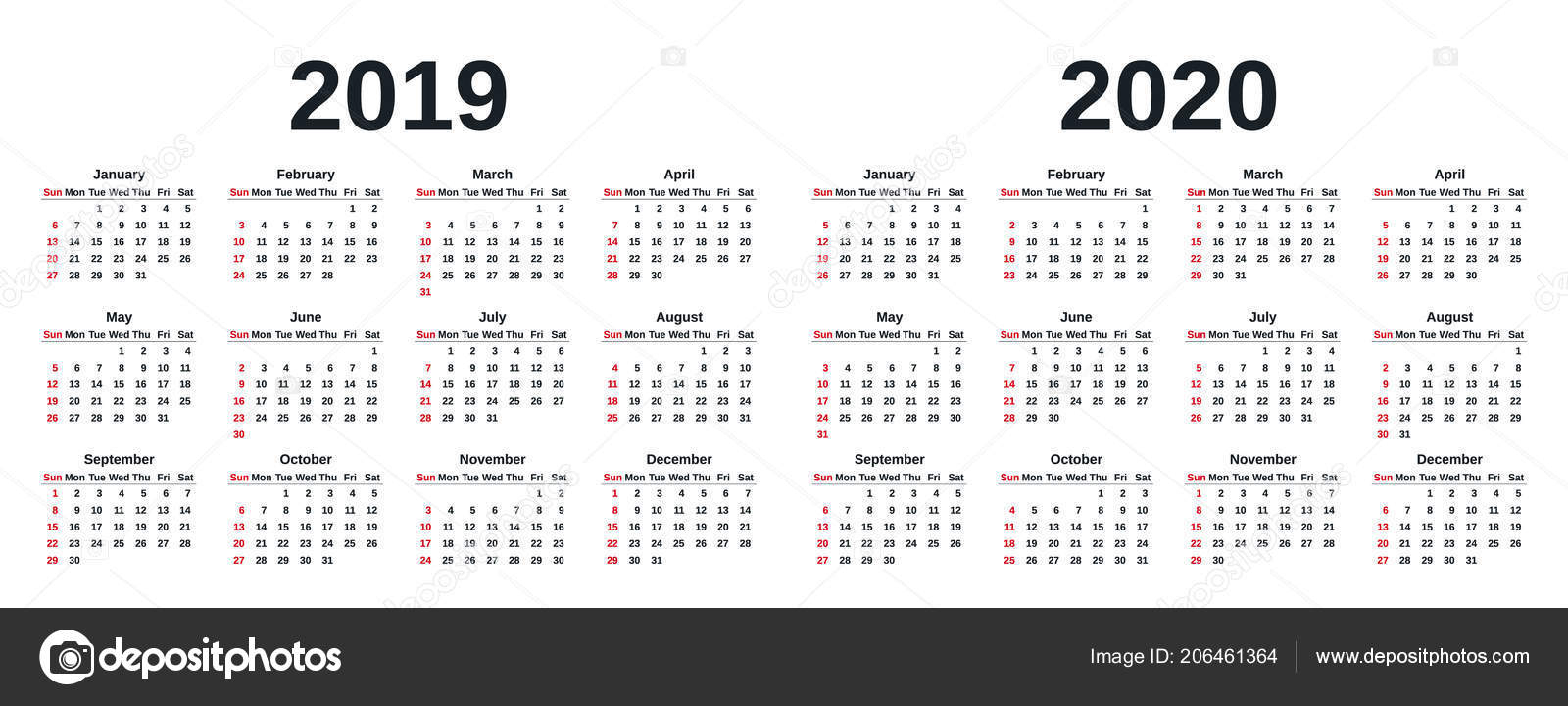 2019 2020 Calendar Vector Graphics Week Starts Sunday Design