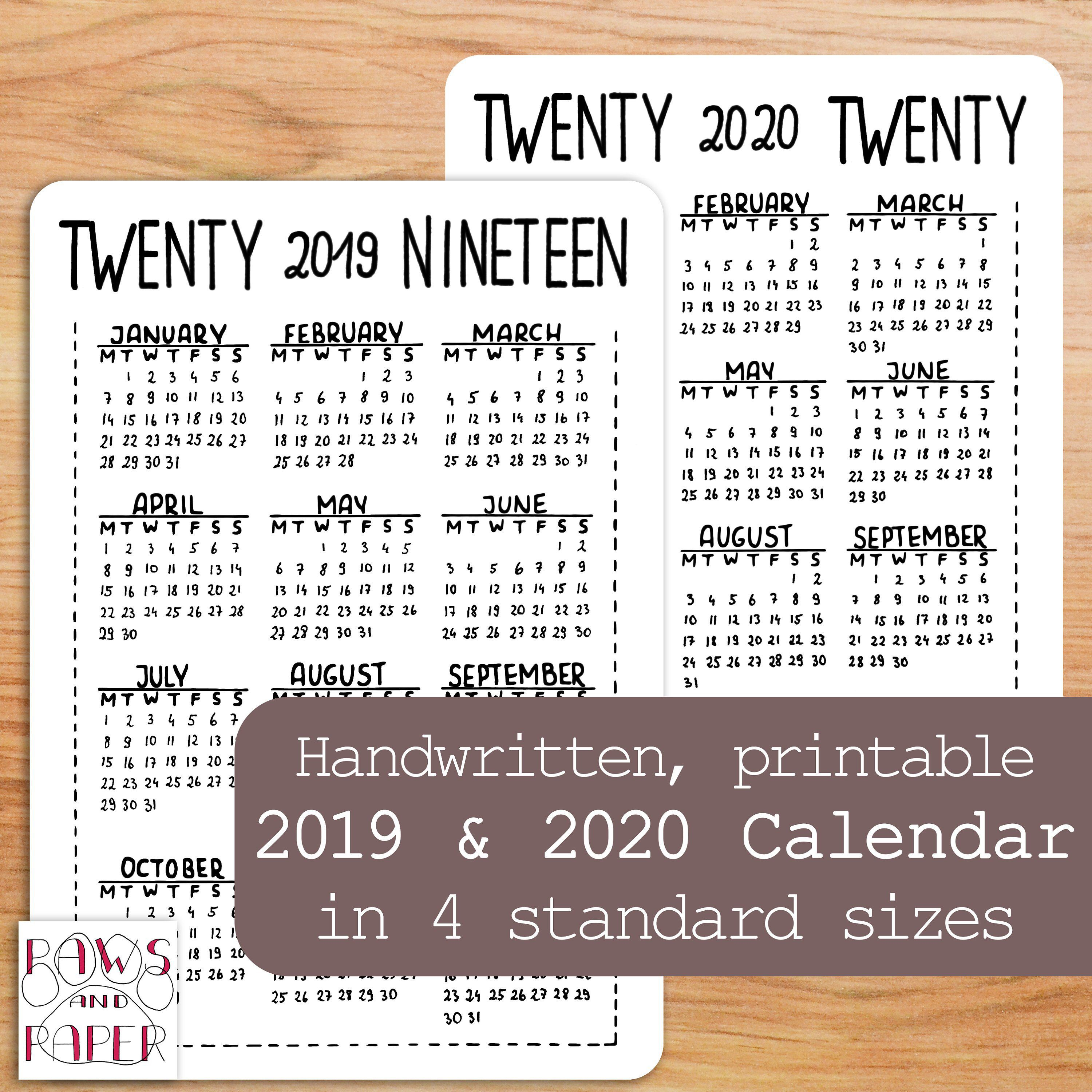 2019 2020 Printable Calendar, Year At A Glance, Planner, Bullet