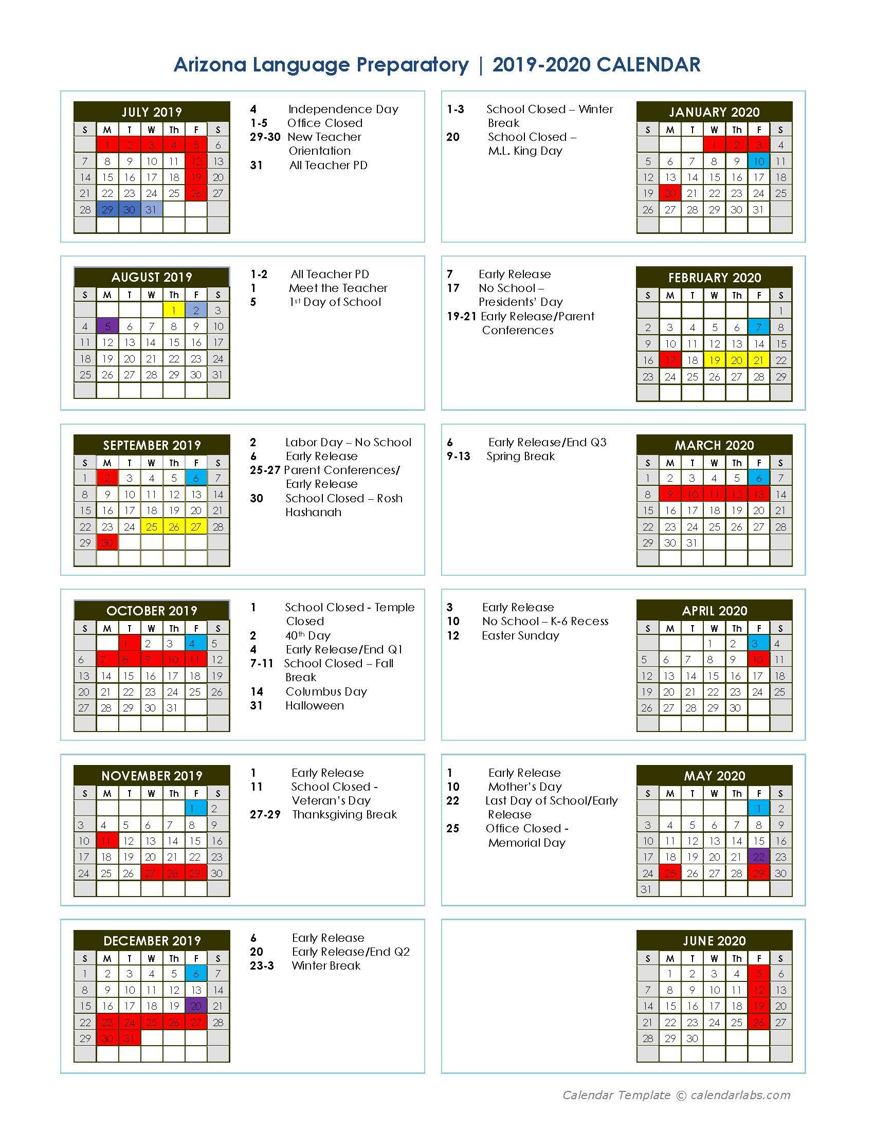 2019-2020 School Calendar - Arizona Language Preparatory