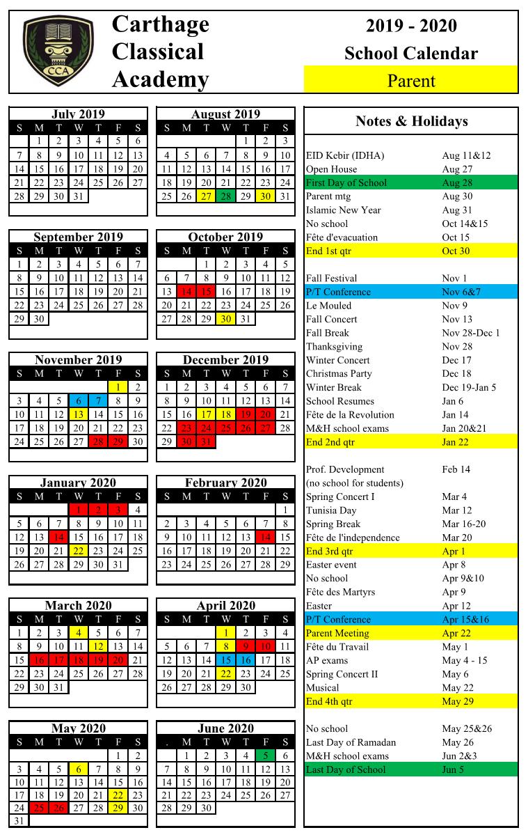 2019-2020 School Calendar – Carthage Classical Academy