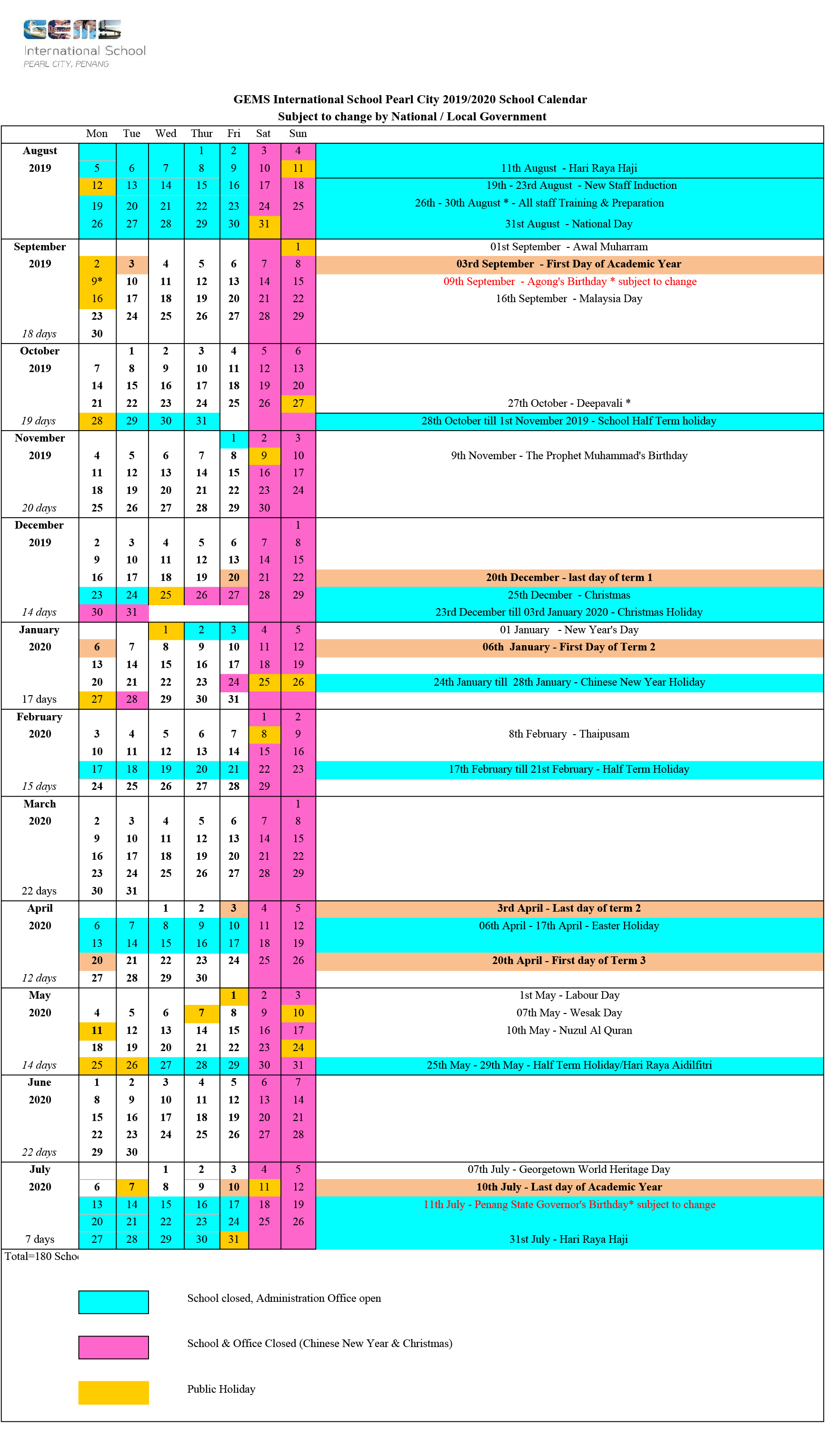 2019/2020 School Calendar - Gems International School