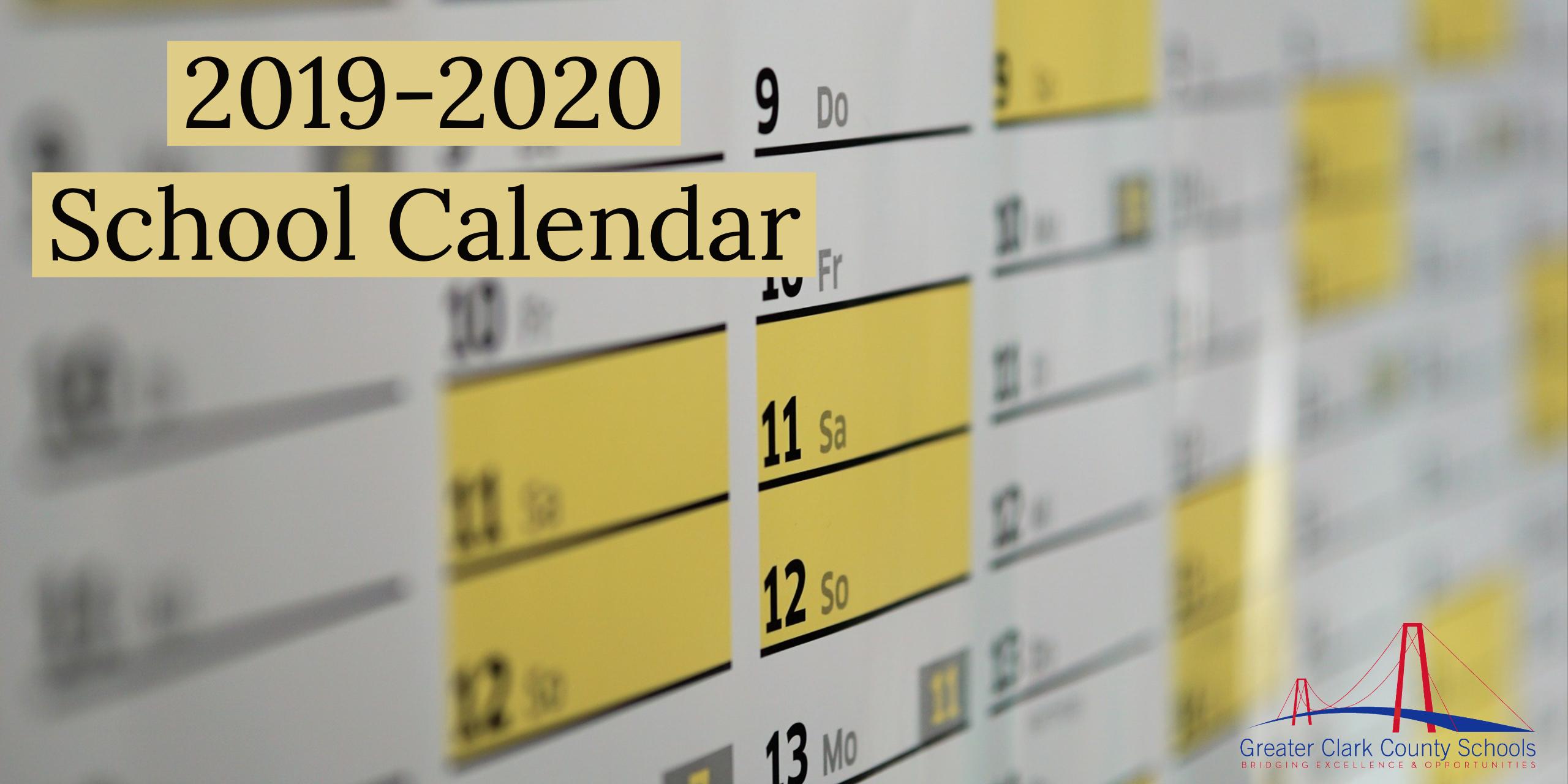 2019-2020 School Calendar – Greater Clark County Schools