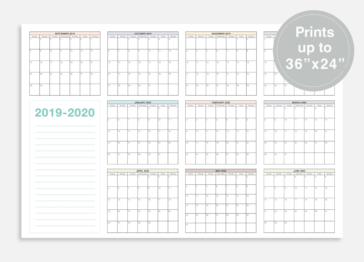 2019-2020 School Calendar September 2019 June 2020 School
