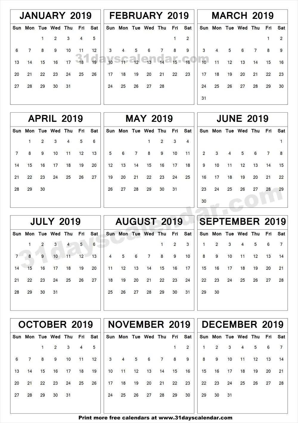 2019 A4 Calendar To Print