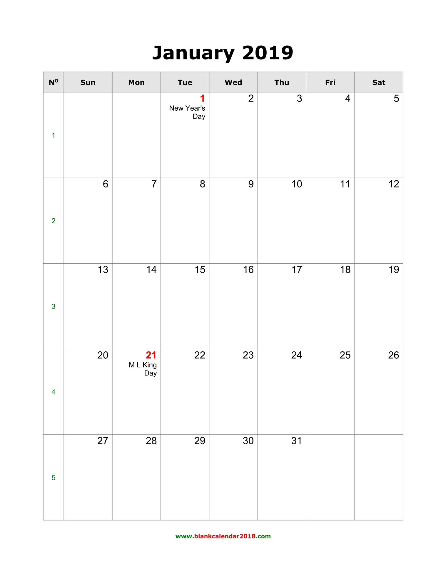 2019 Blank Monthly Calendar - Agadi.ifreezer.co