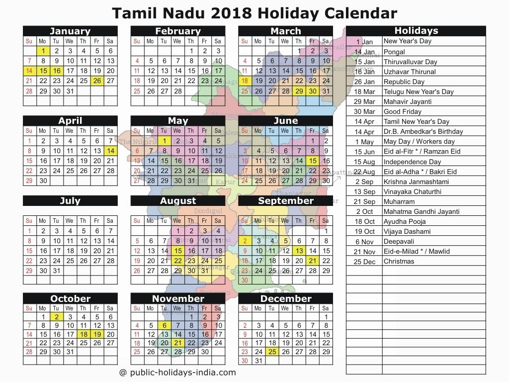2019 Calendar Holidays Tamilnadu • Printable Blank Calendar Template