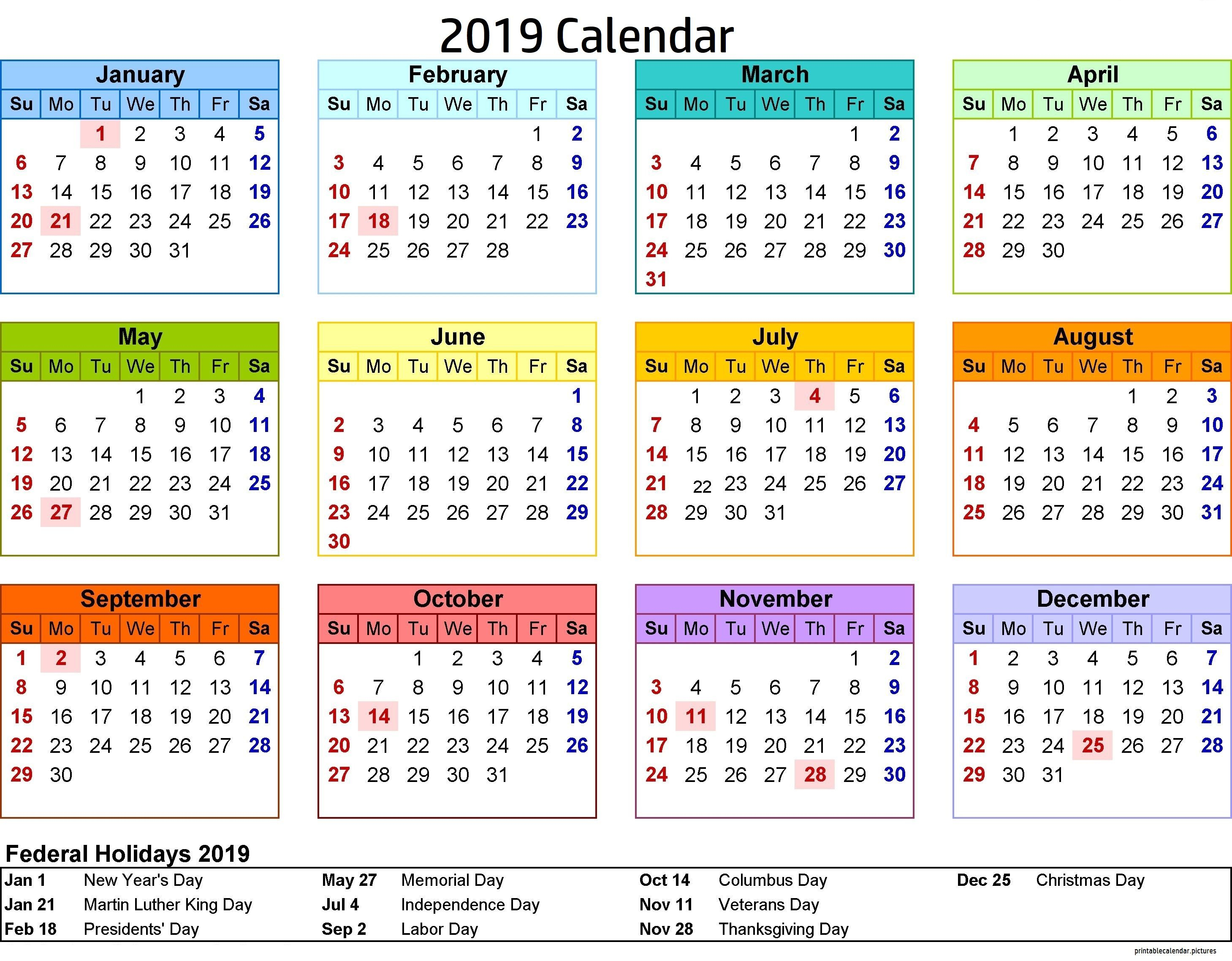 2019 Calendar Philippines With Holidays