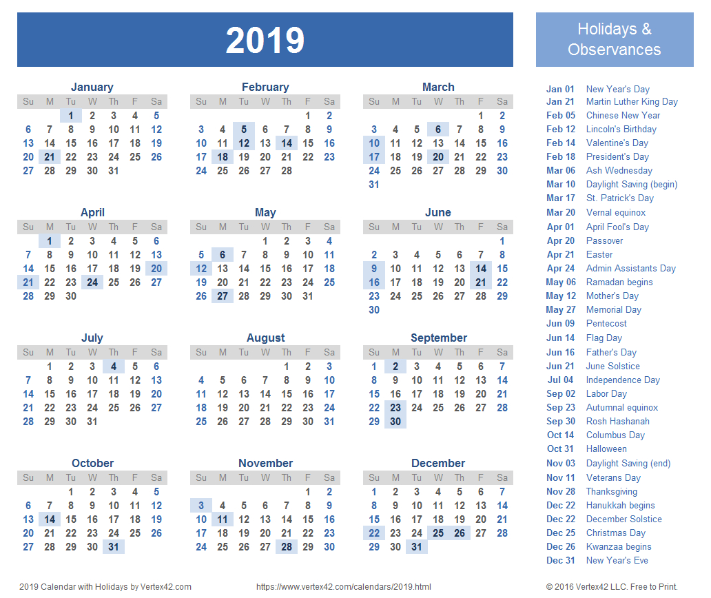 2019 Calendar Templates And Images