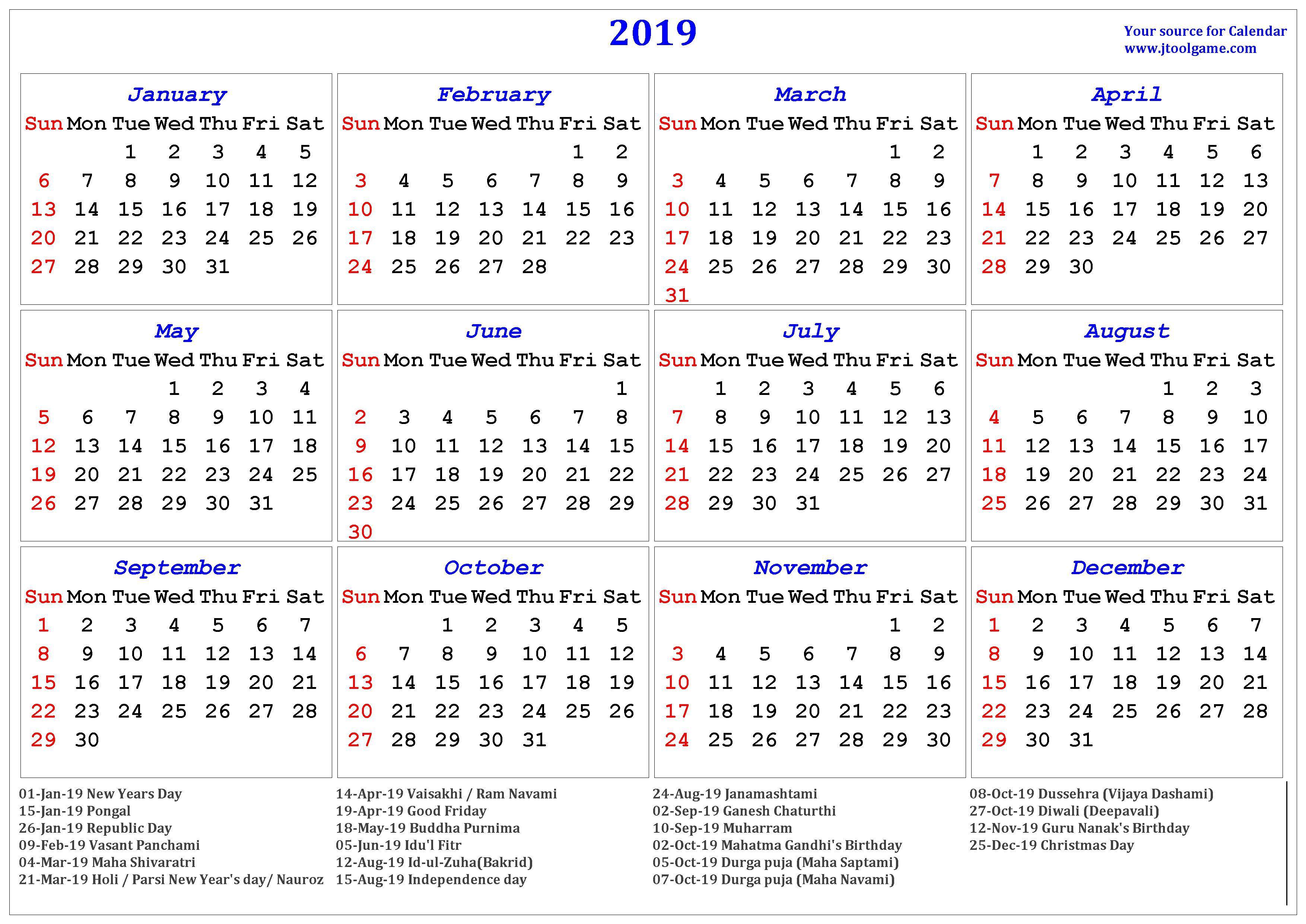 2019 Hindu Calendar With Tithi