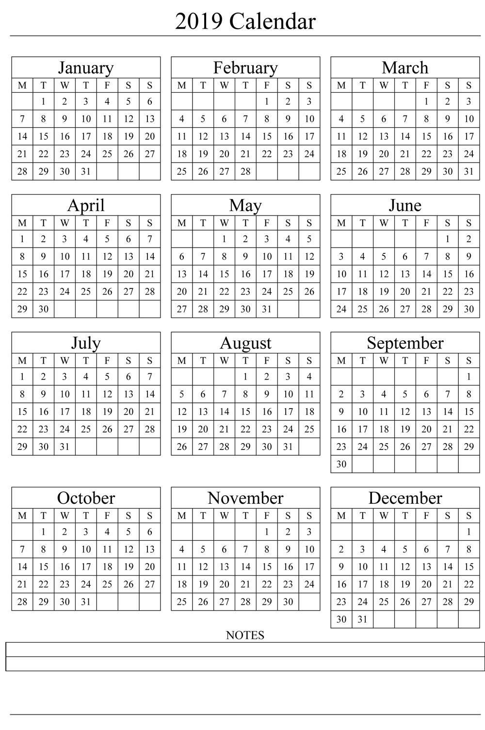 2019 Printable Calendar Templates - Blank Word Pdf - Calendar End