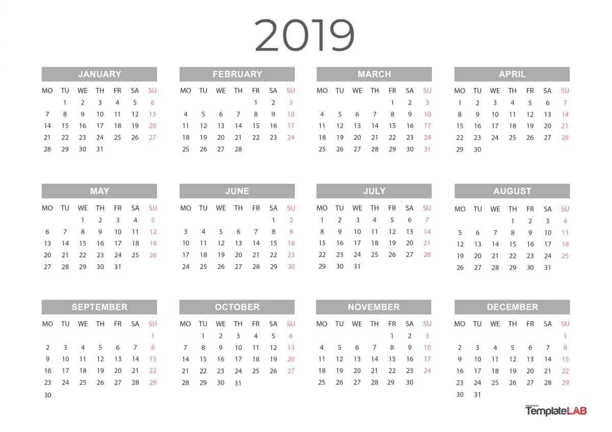 [%2019 Printable Calendars [Monthly, With Holidays, Yearly] ᐅ|Blank Calendar Whole Year|Blank Calendar Whole Year%]