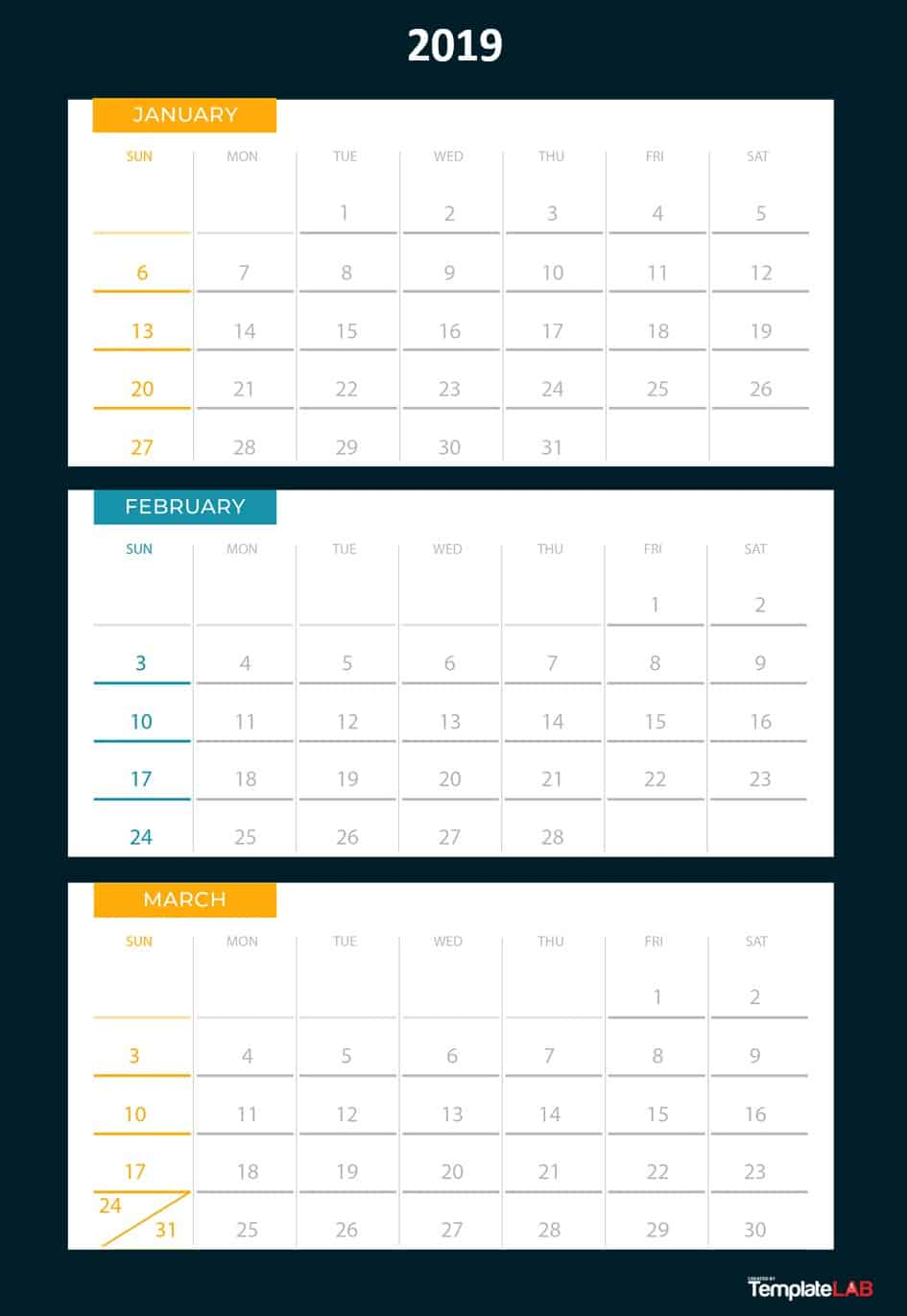 [%2019 Printable Calendars [Monthly, With Holidays, Yearly] ᐅ|Blank Quarterly Calendar Template|Blank Quarterly Calendar Template%]
