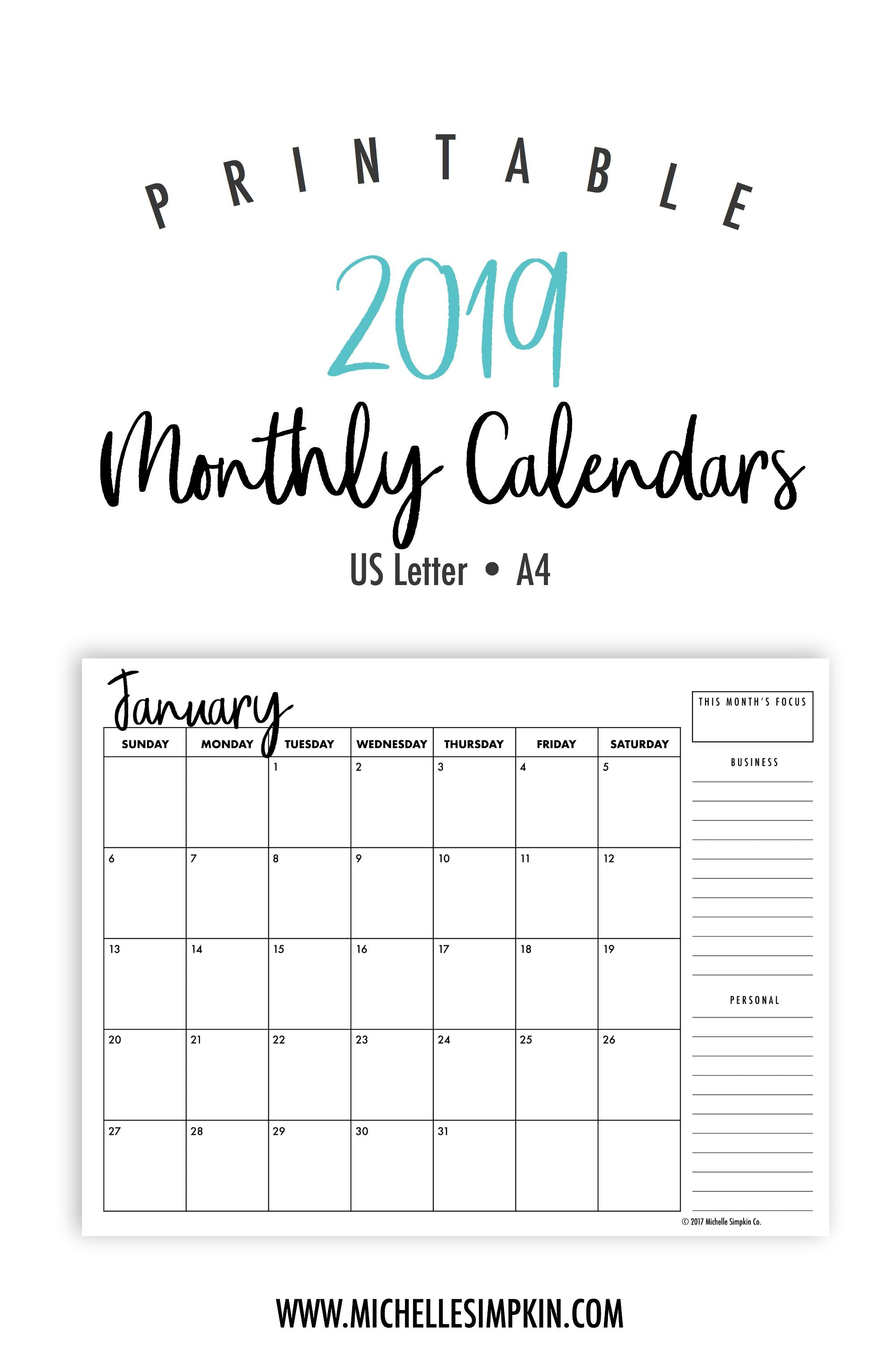 2019 Printable Monthly Calendars • Landscape • Us Letter • A4