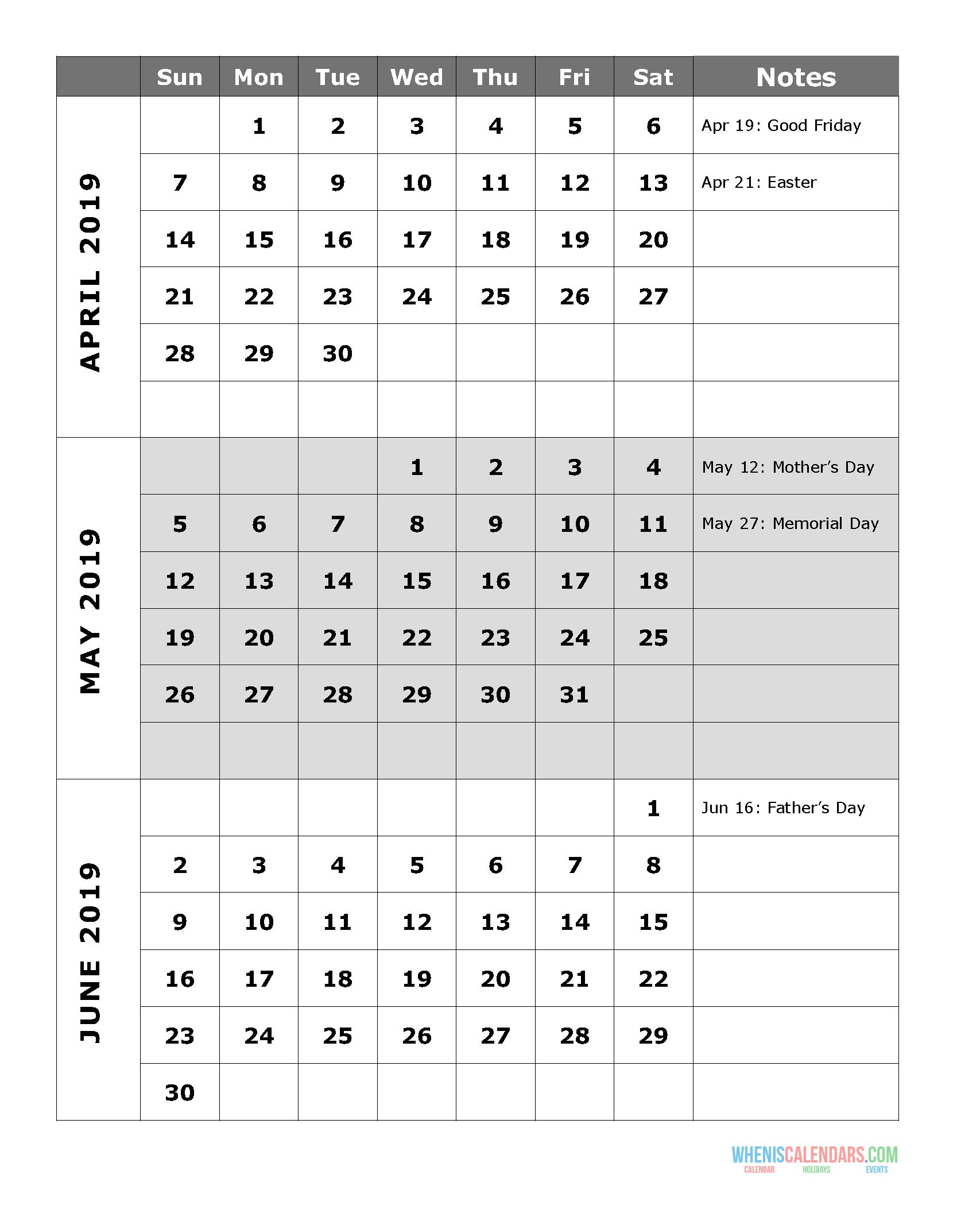 2019 Quarterly Calendar Printable Q.2: April May June