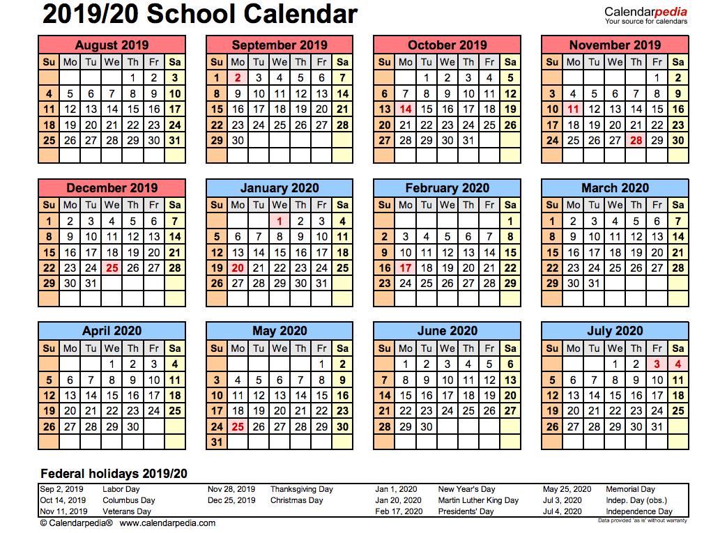 2019 School Calendar Printable