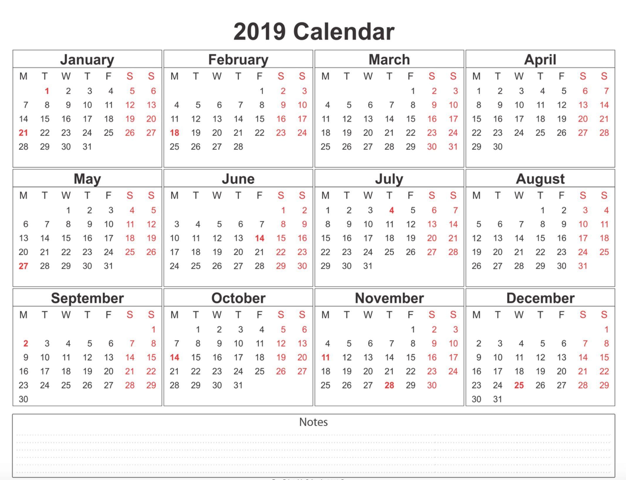 2019 Weekly Calendar Printable