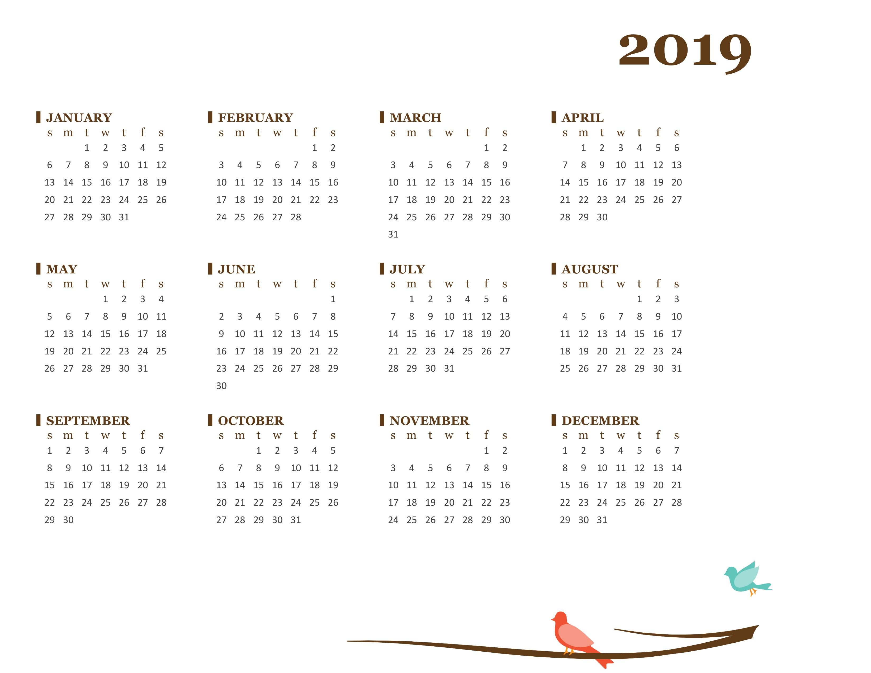 2019 Yearly Calendar (Sun-Sat)