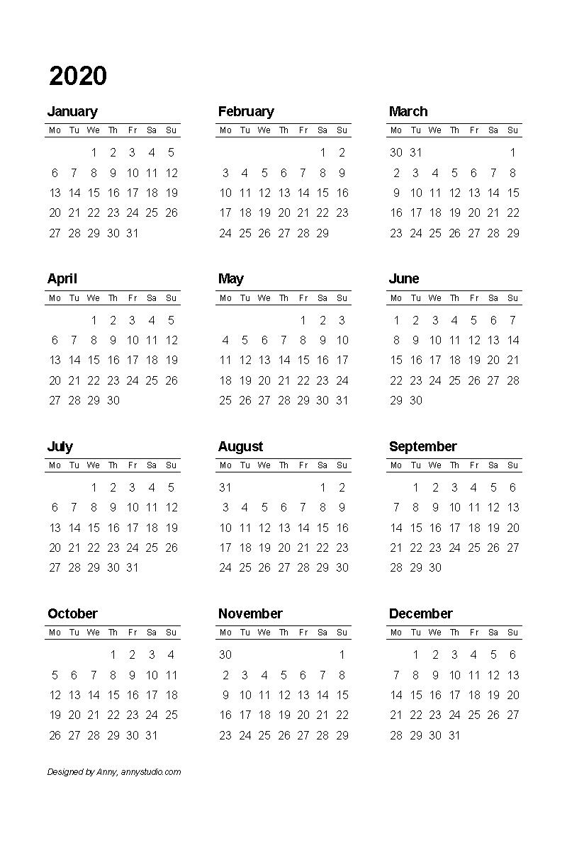 2020 1 Page Calendar