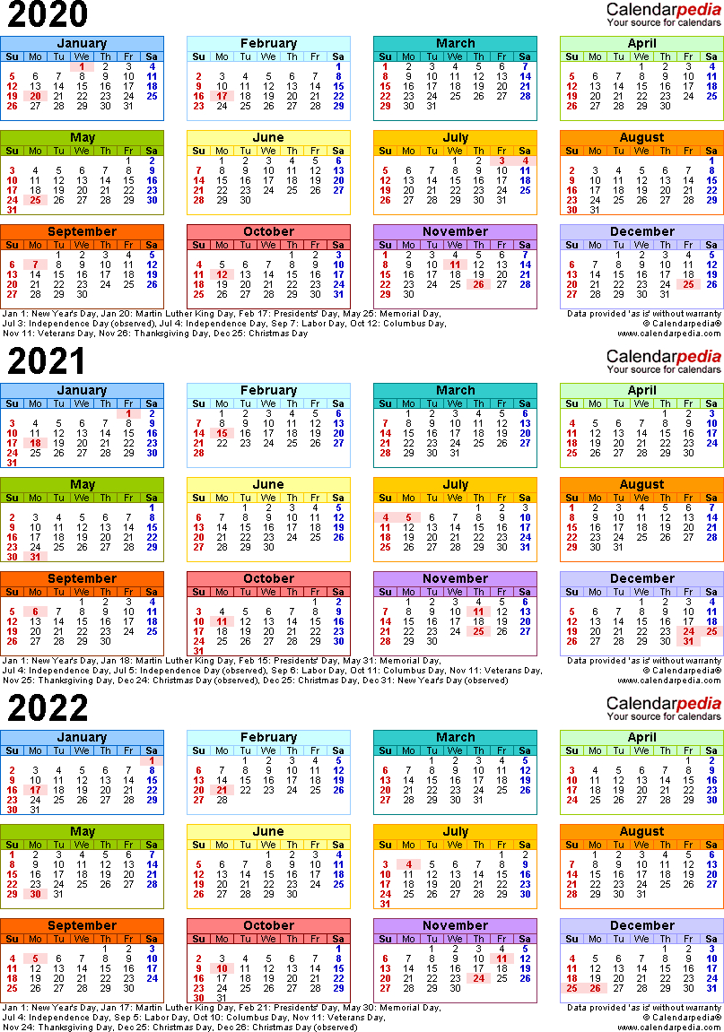 2020/2021/2022 Calendar - 4 Three-Year Printable Pdf Calendars