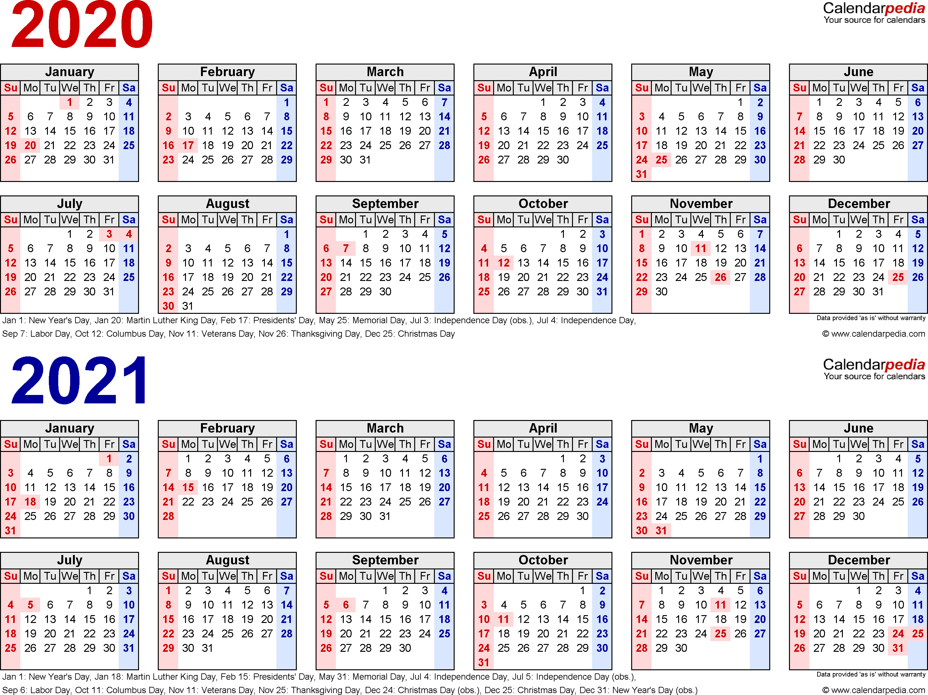 2020-2021 Calendar - Free Printable Two-Year Excel Calendars