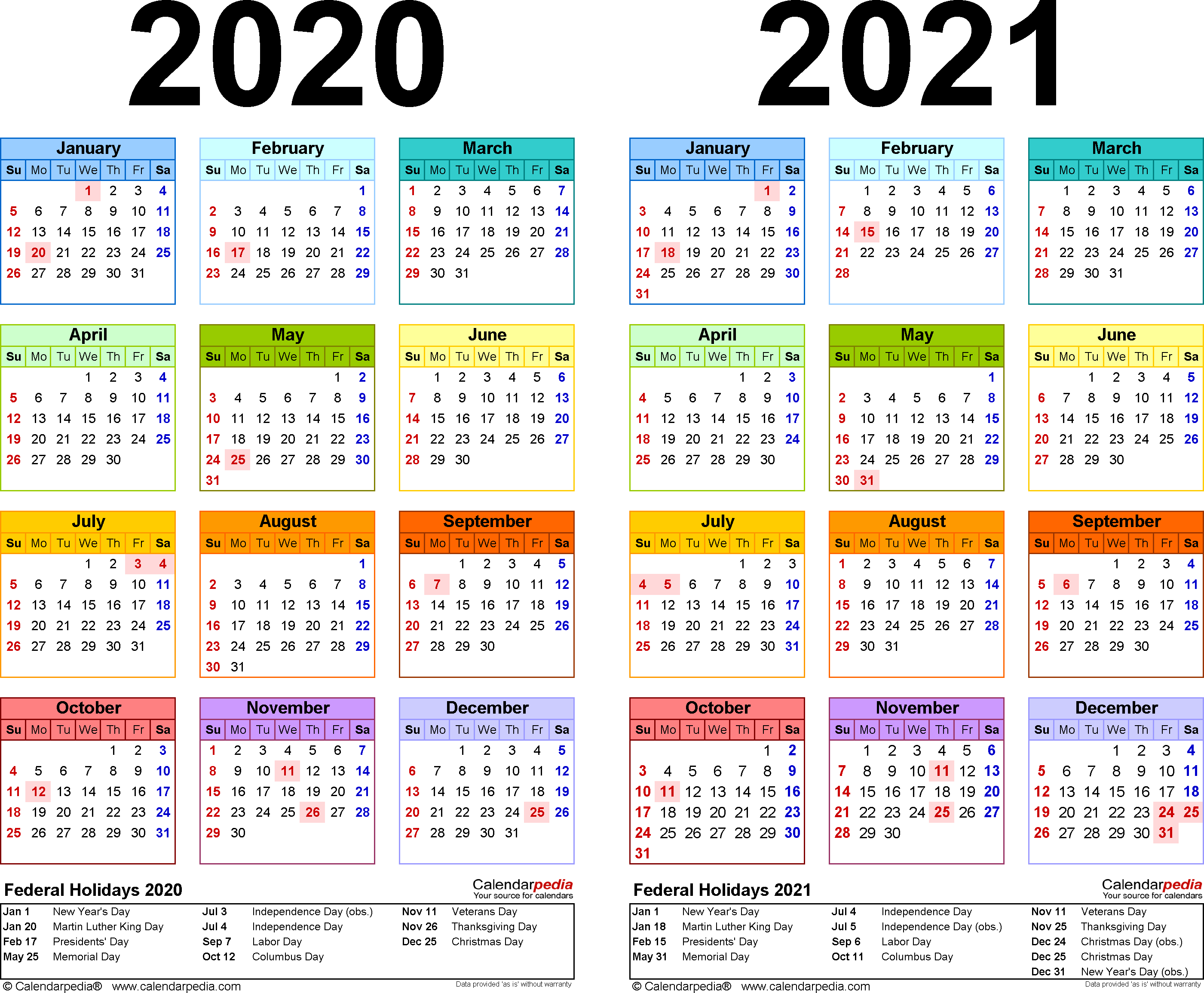 2020-2021 Calendar - Free Printable Two-Year Pdf Calendars