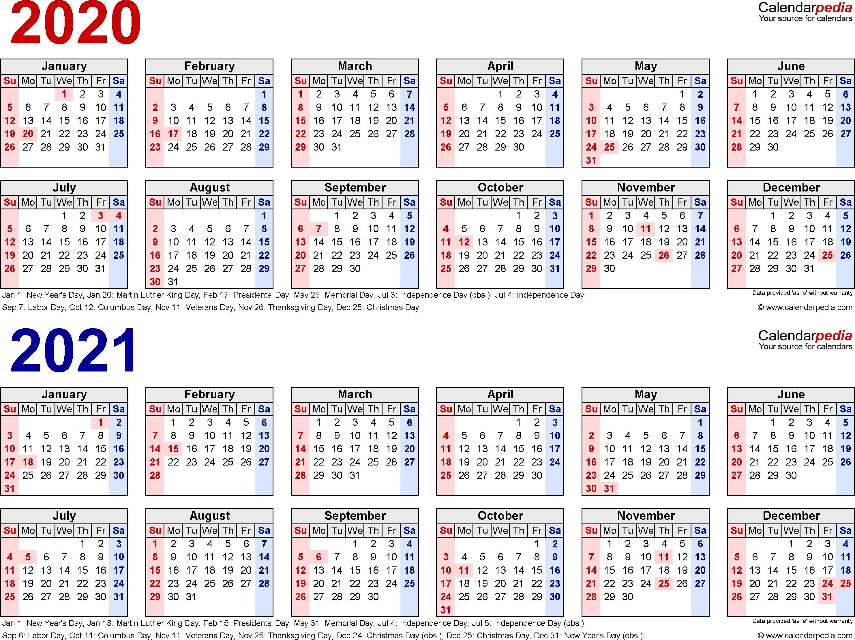 2020-2021 Calendar – Free Printable Two-Year Word Calendars 2020