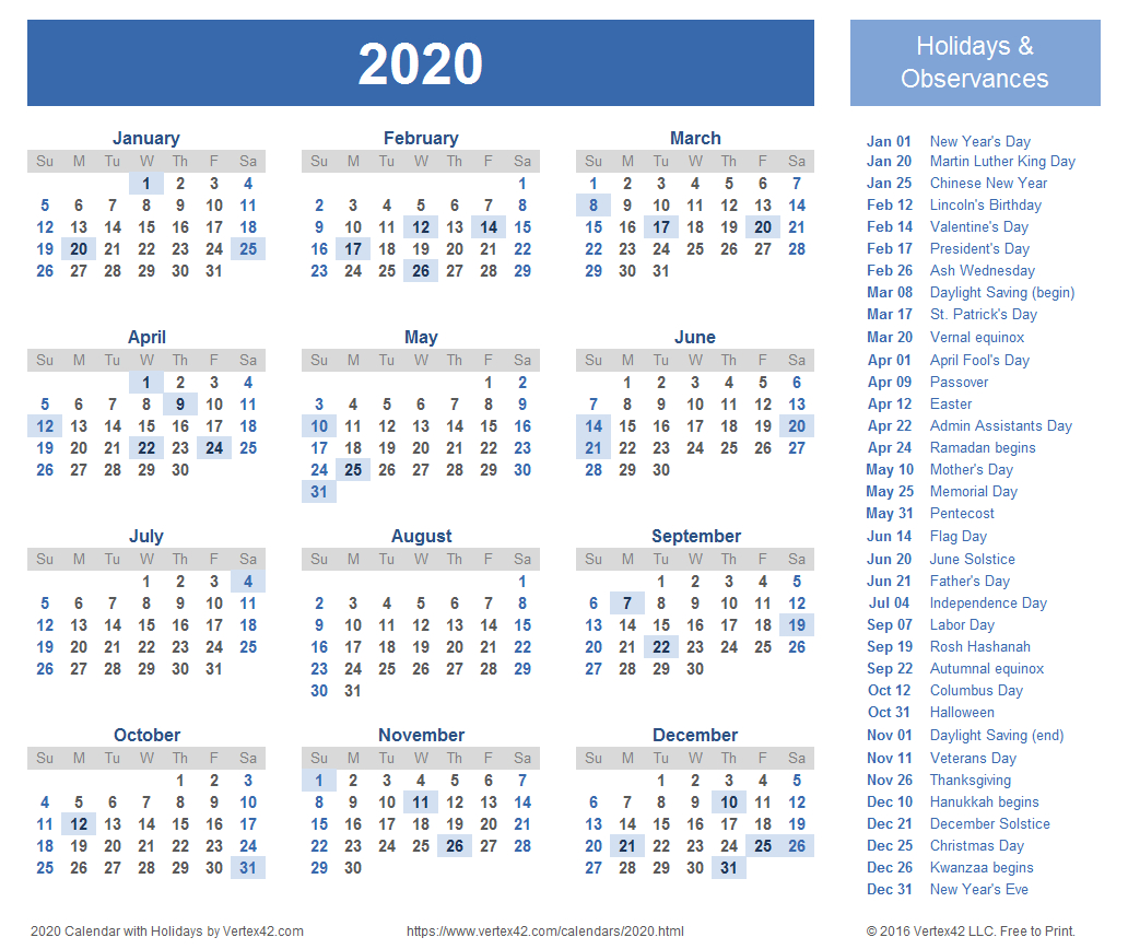 2020 Blank Calendar With Holidays